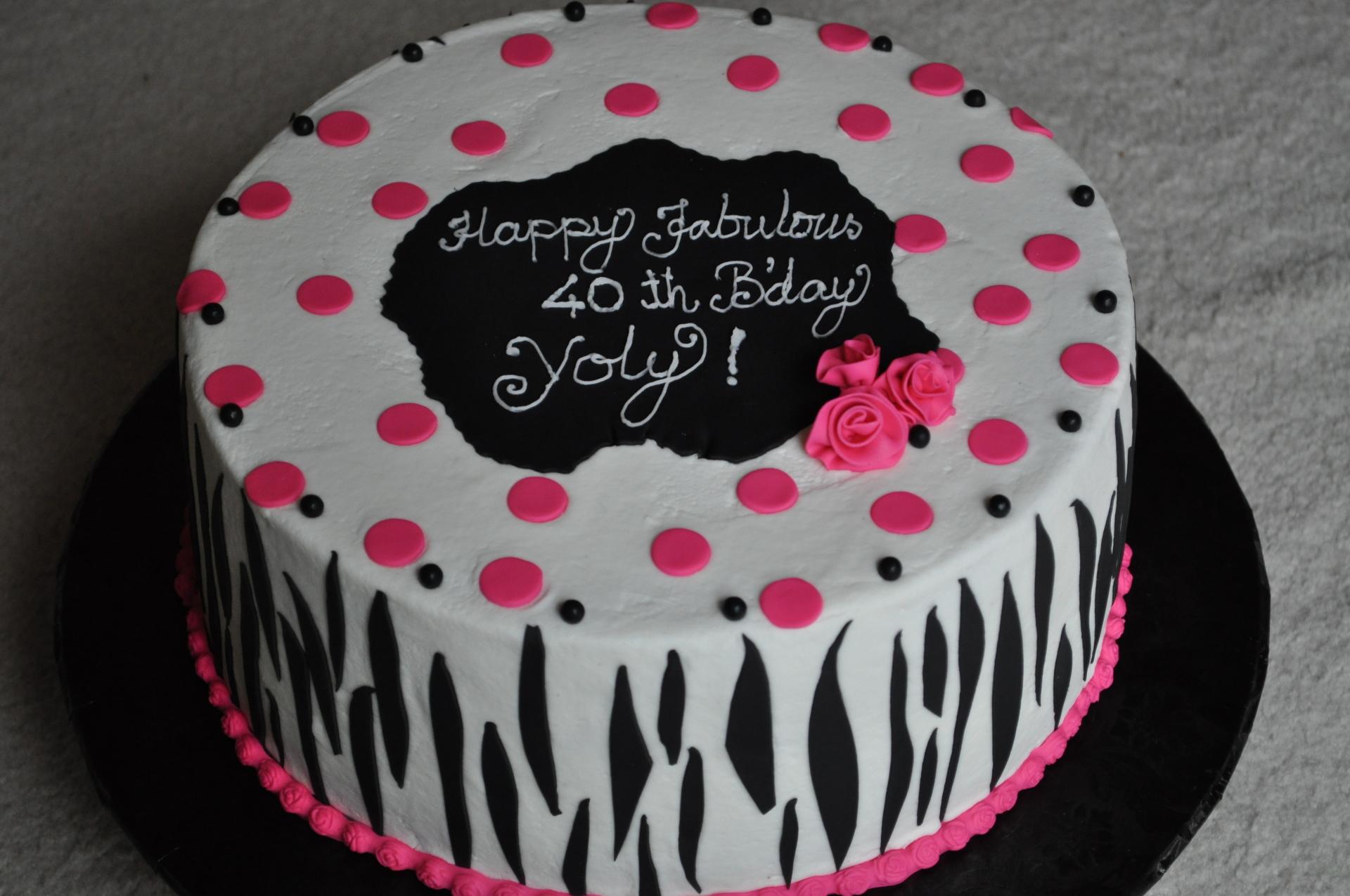 Black zebra stripes birthday cake