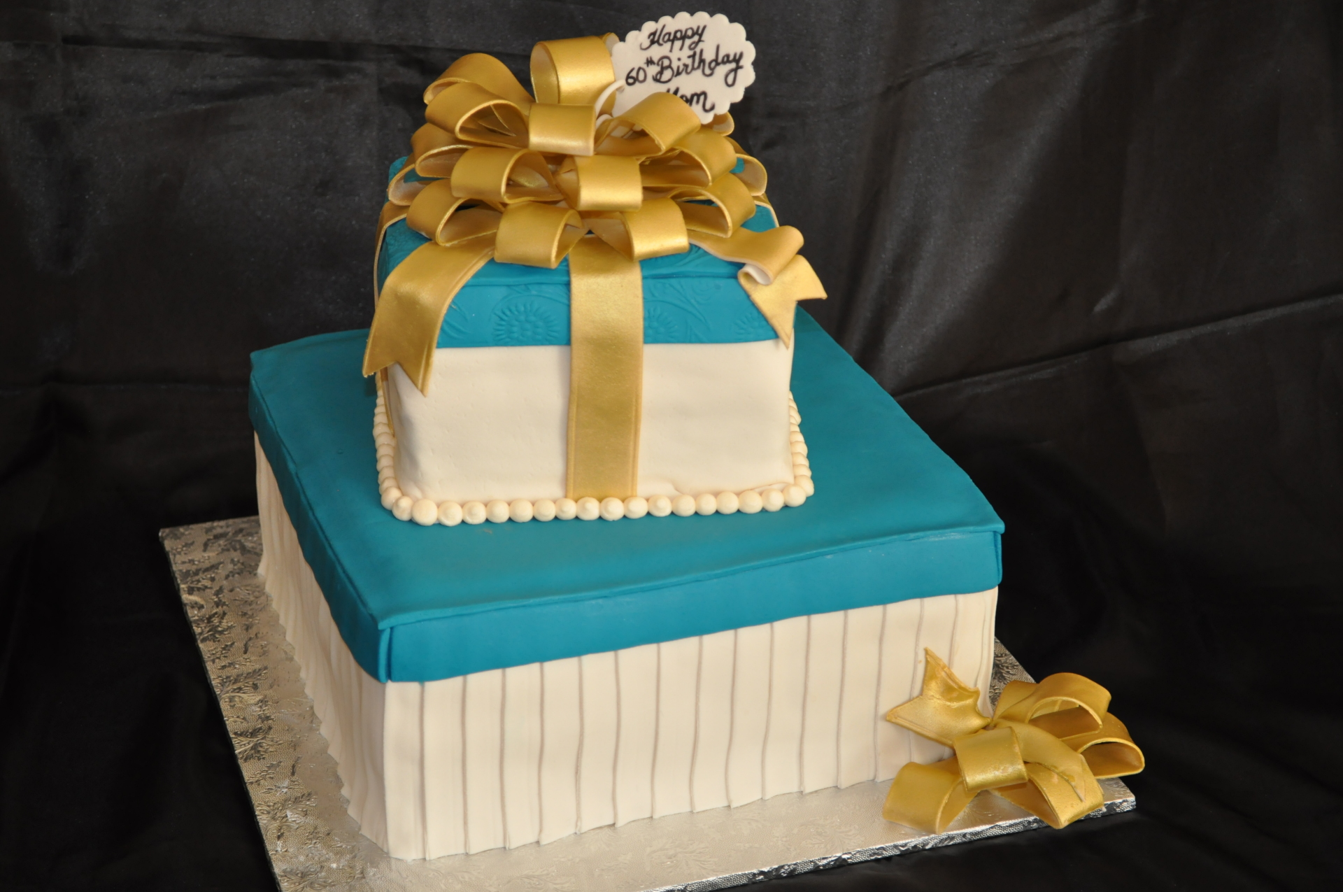 Gift box cake,gold bow cake, stacked gift boxes cake