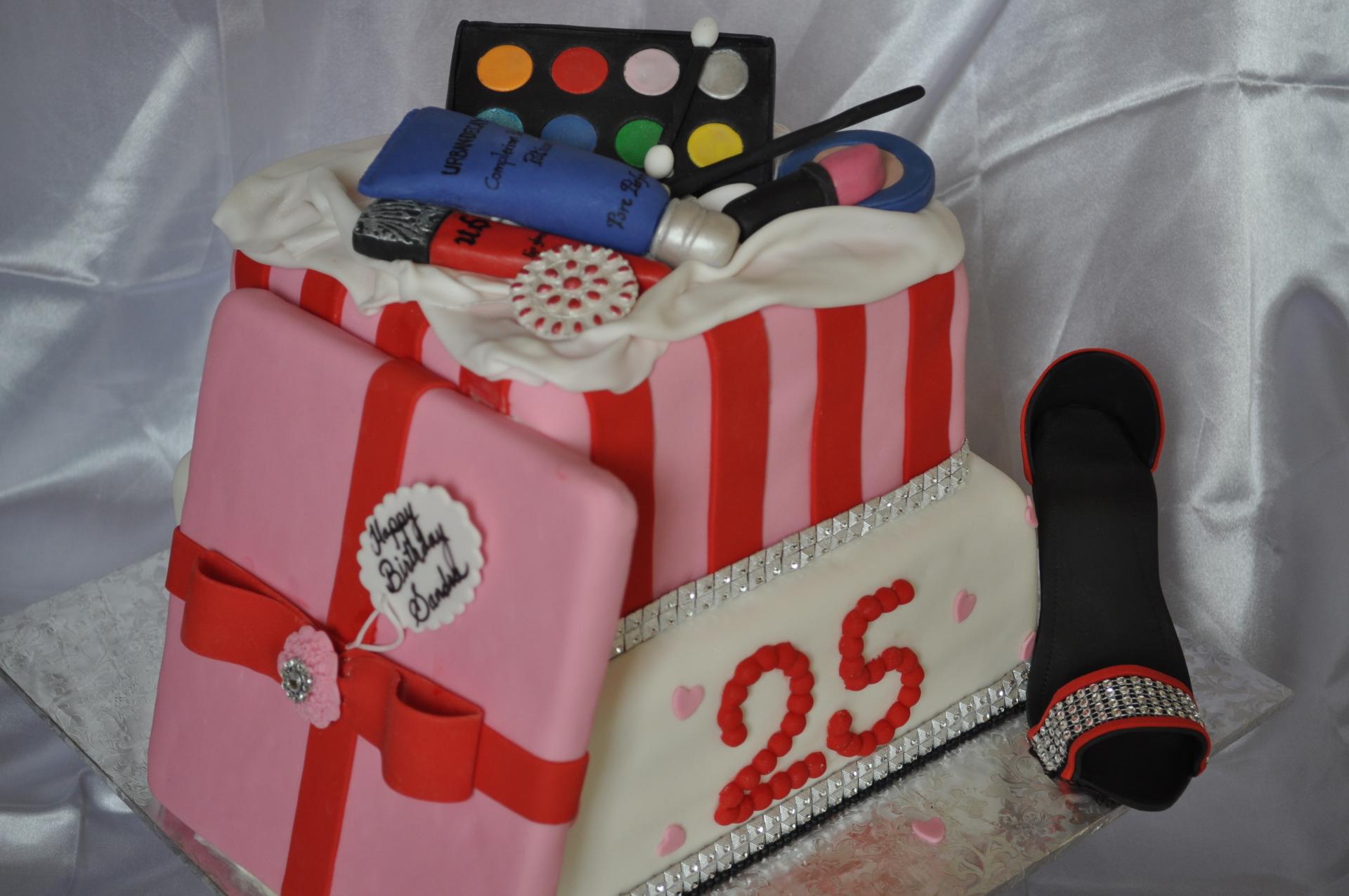 Make up cake, 25th birthday cake, fashionista cake,glam cake