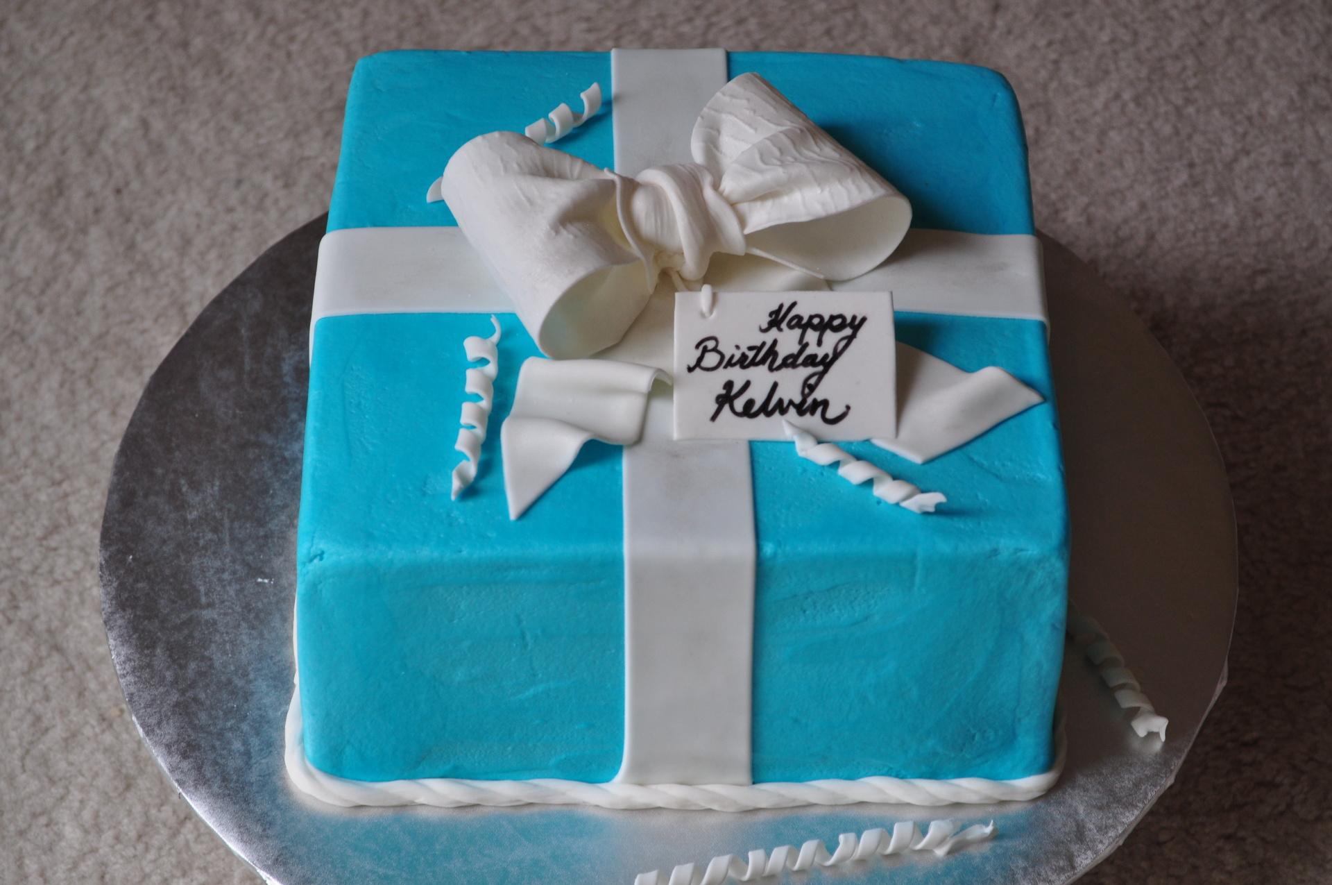 Blue present cake