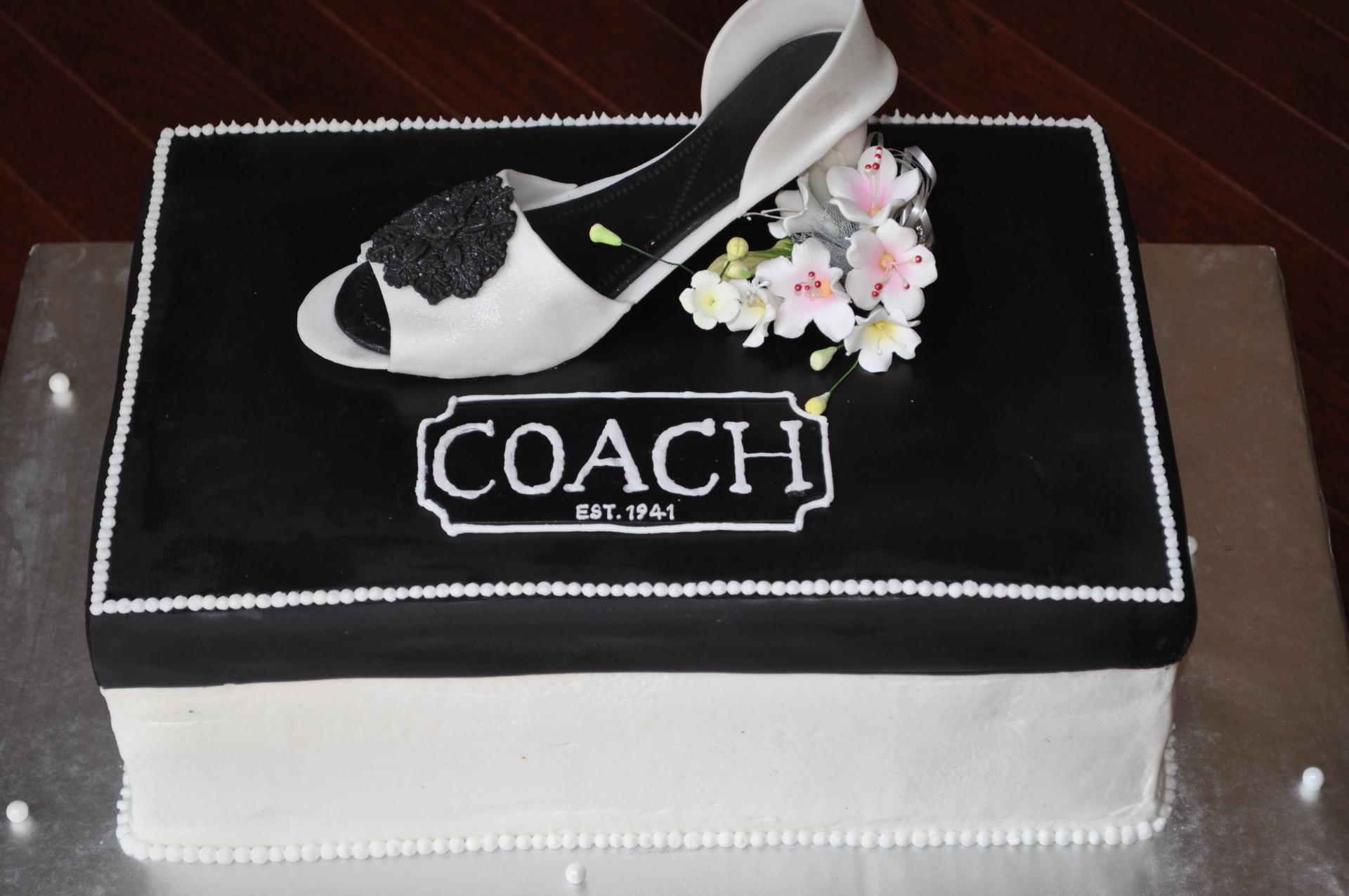 Coach white heel cake,shoe box cake
