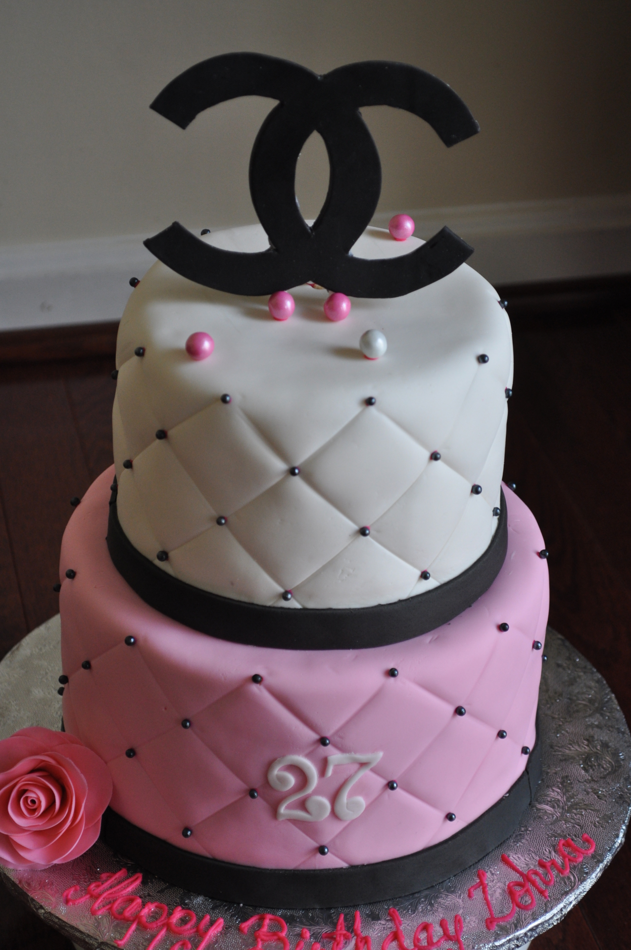 Chanel tiered birthday cake
