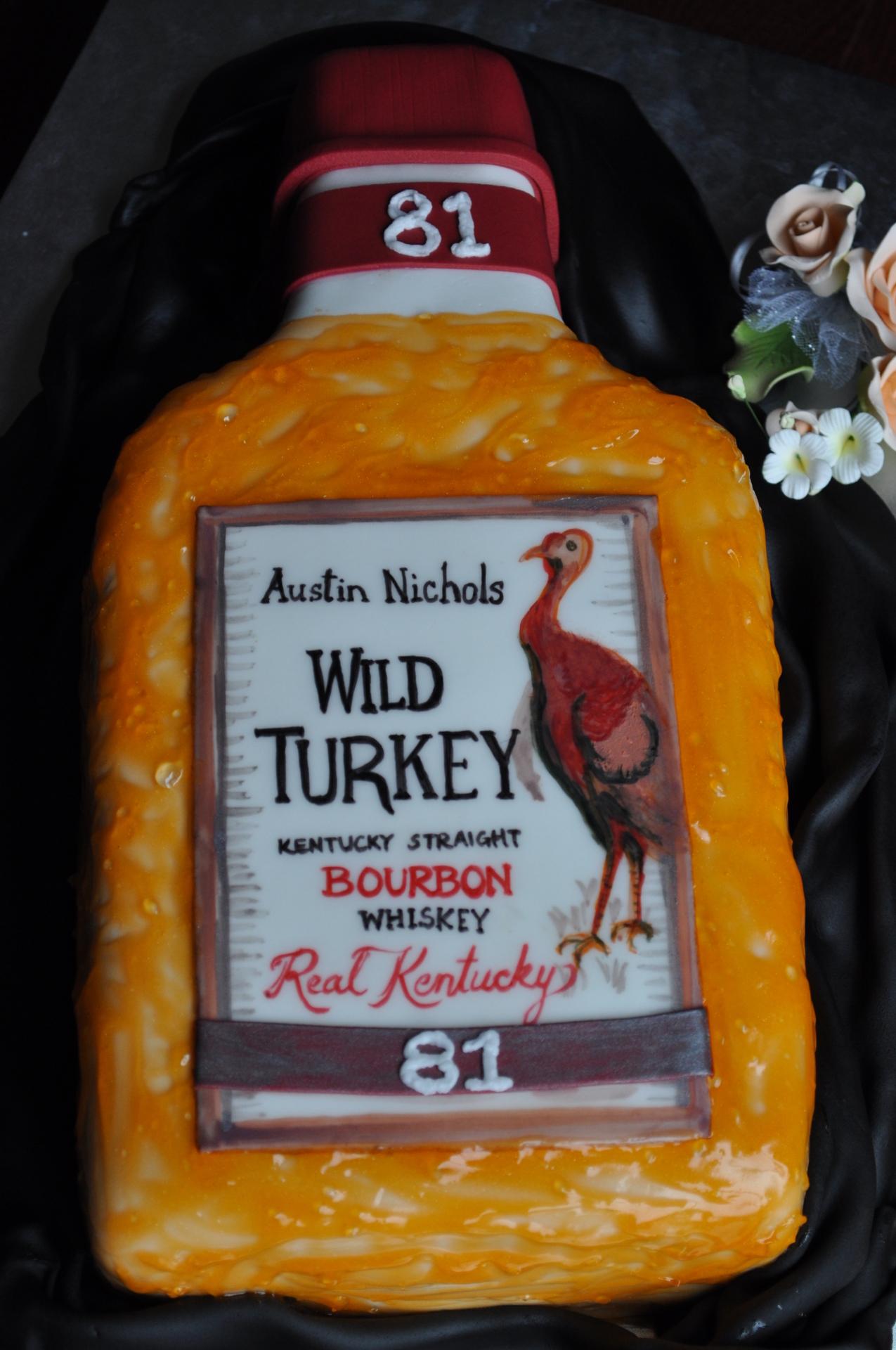 Whisky bottle cake,wild turkey bottle cake