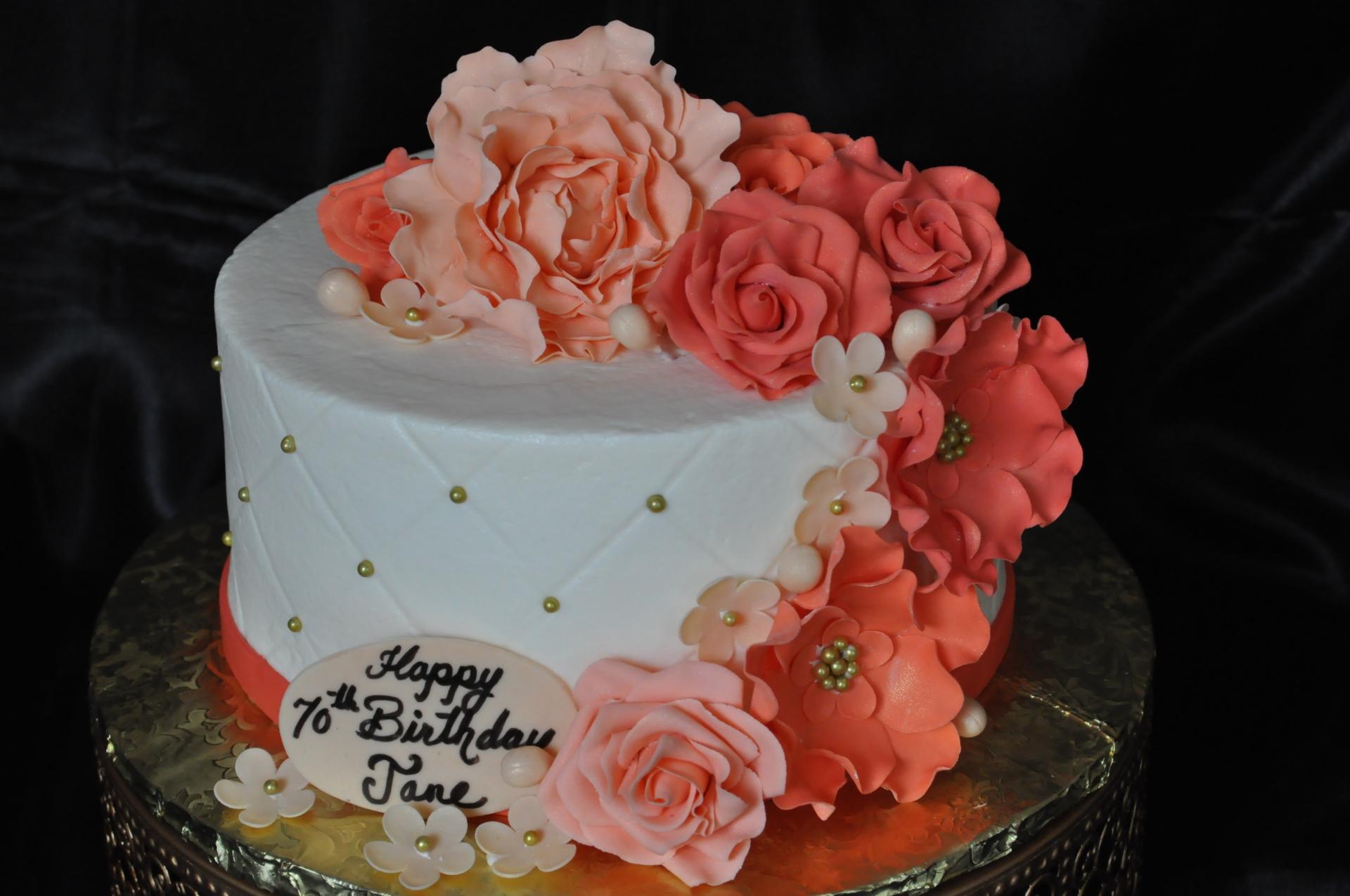 Peach flowers birthday cake, gumpaste flowers