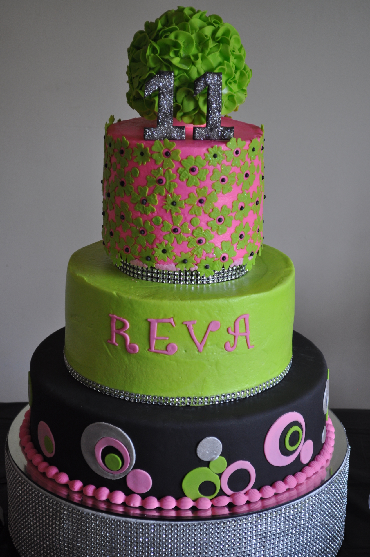 Contemporary lime green black pink birthday cake