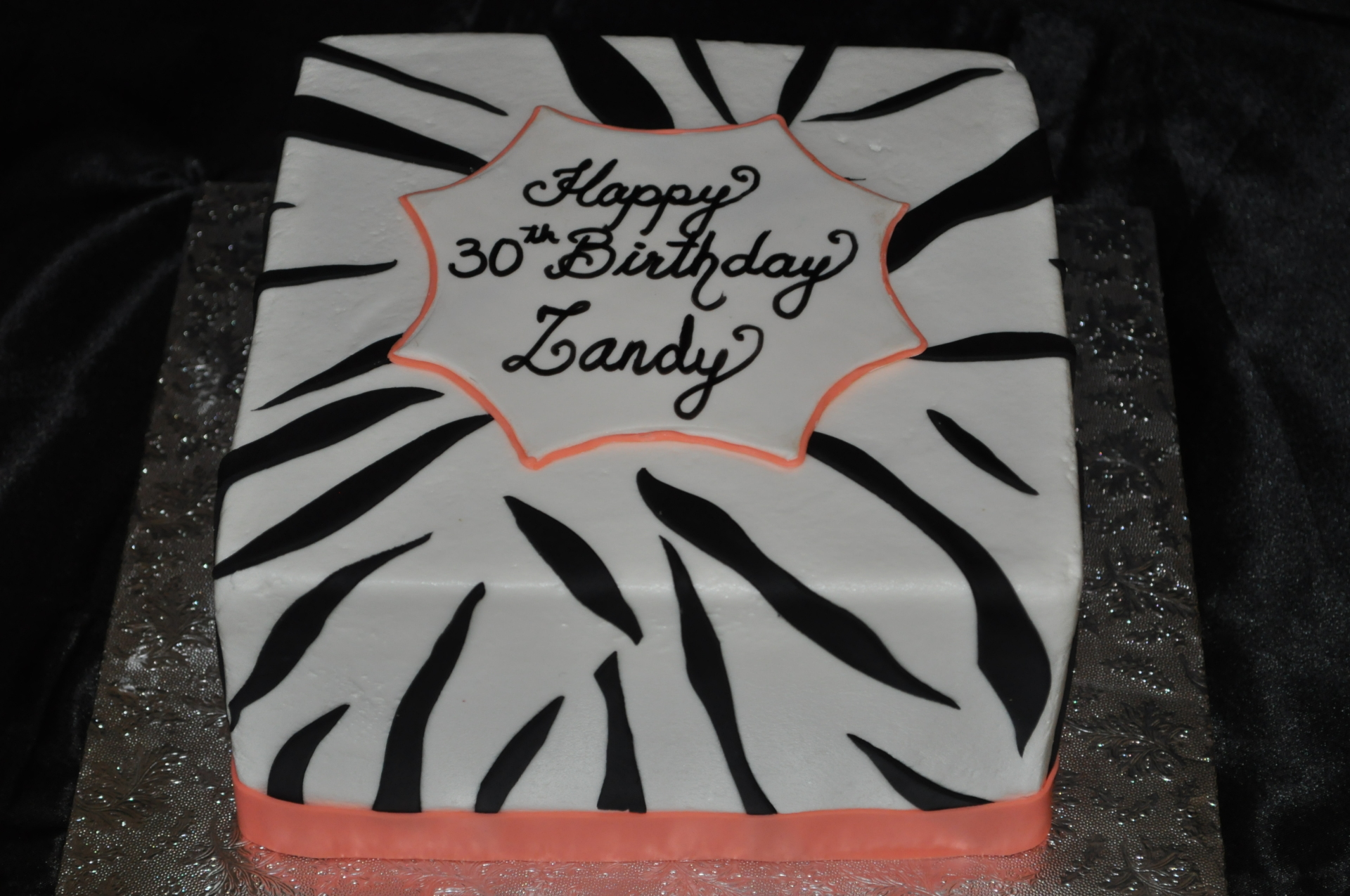 Simple zebra birthday cake