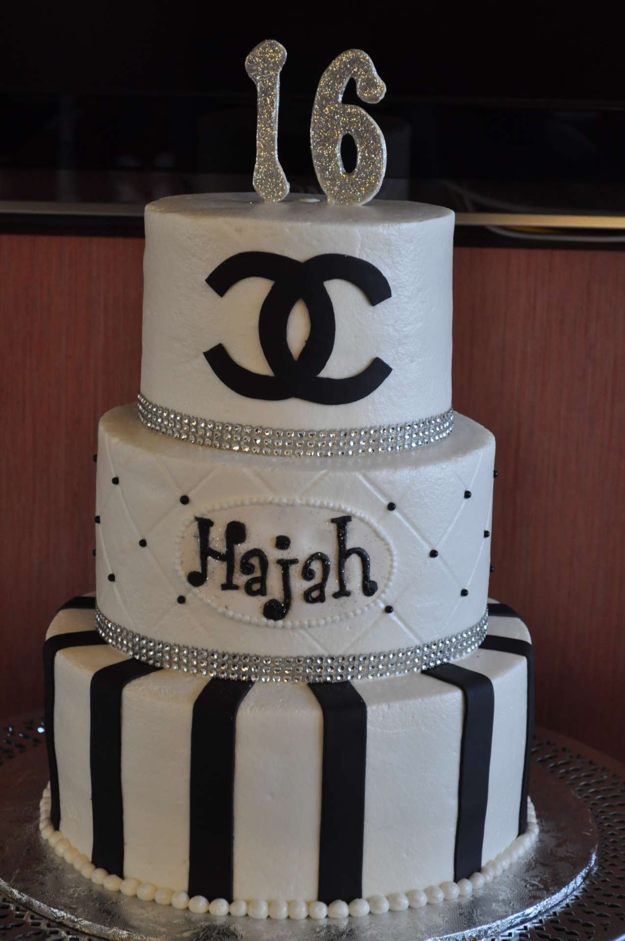 Chanel 3 tier birthday cake,sweet sixteen 16 cake