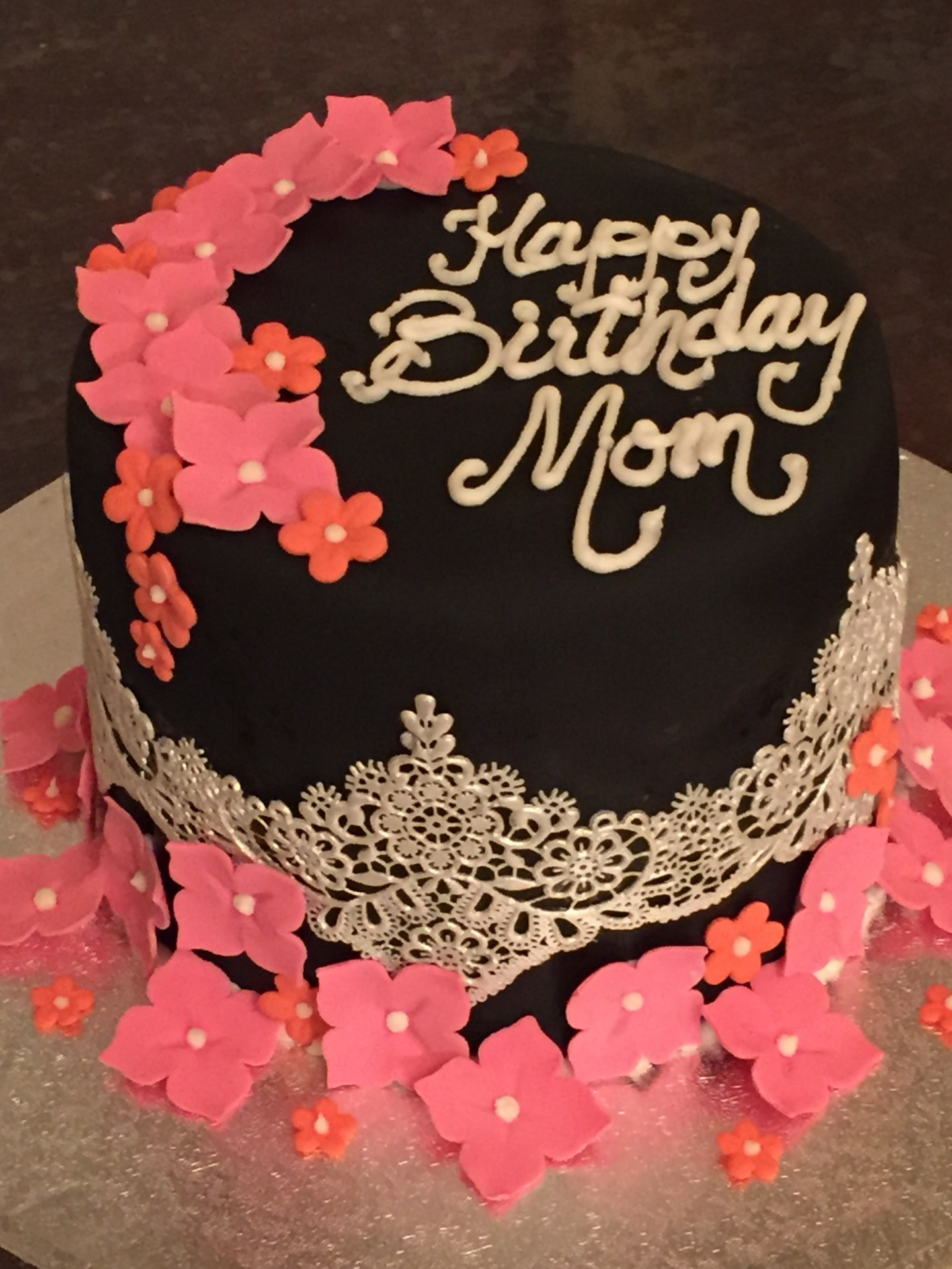 Black fondnat pink flowers birthday