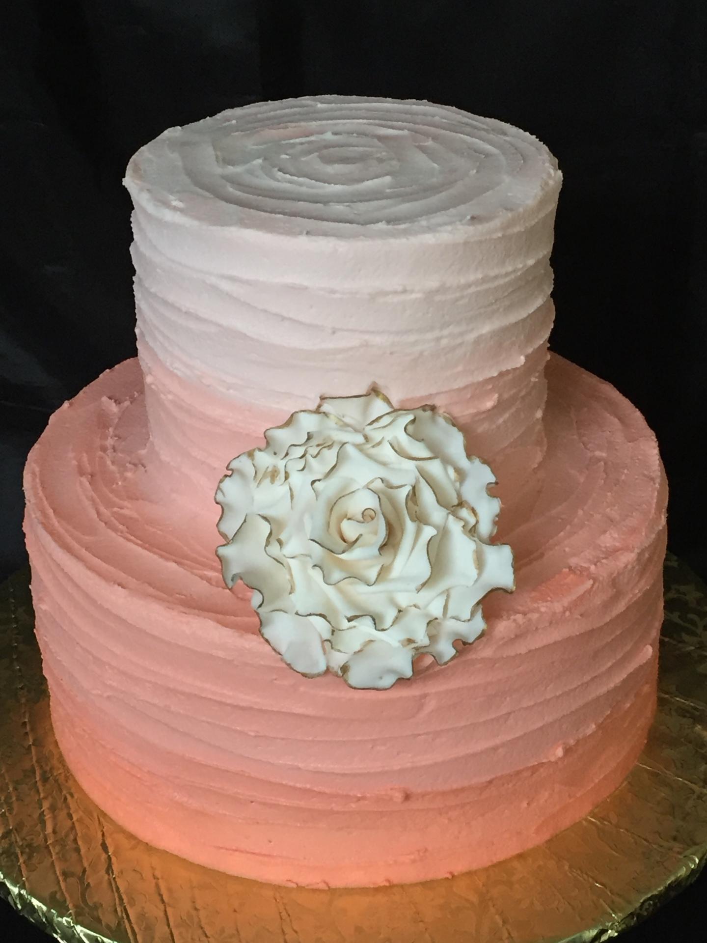 Peach ombre rustic cake