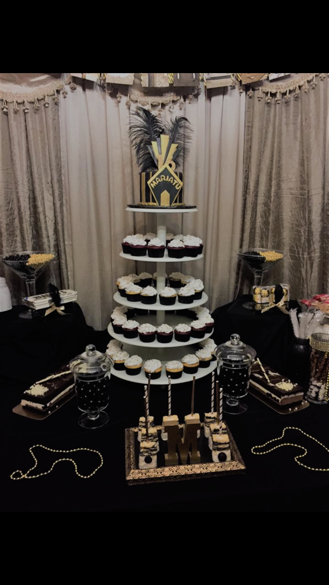 Great Gadsby theme cake and cupcake tower