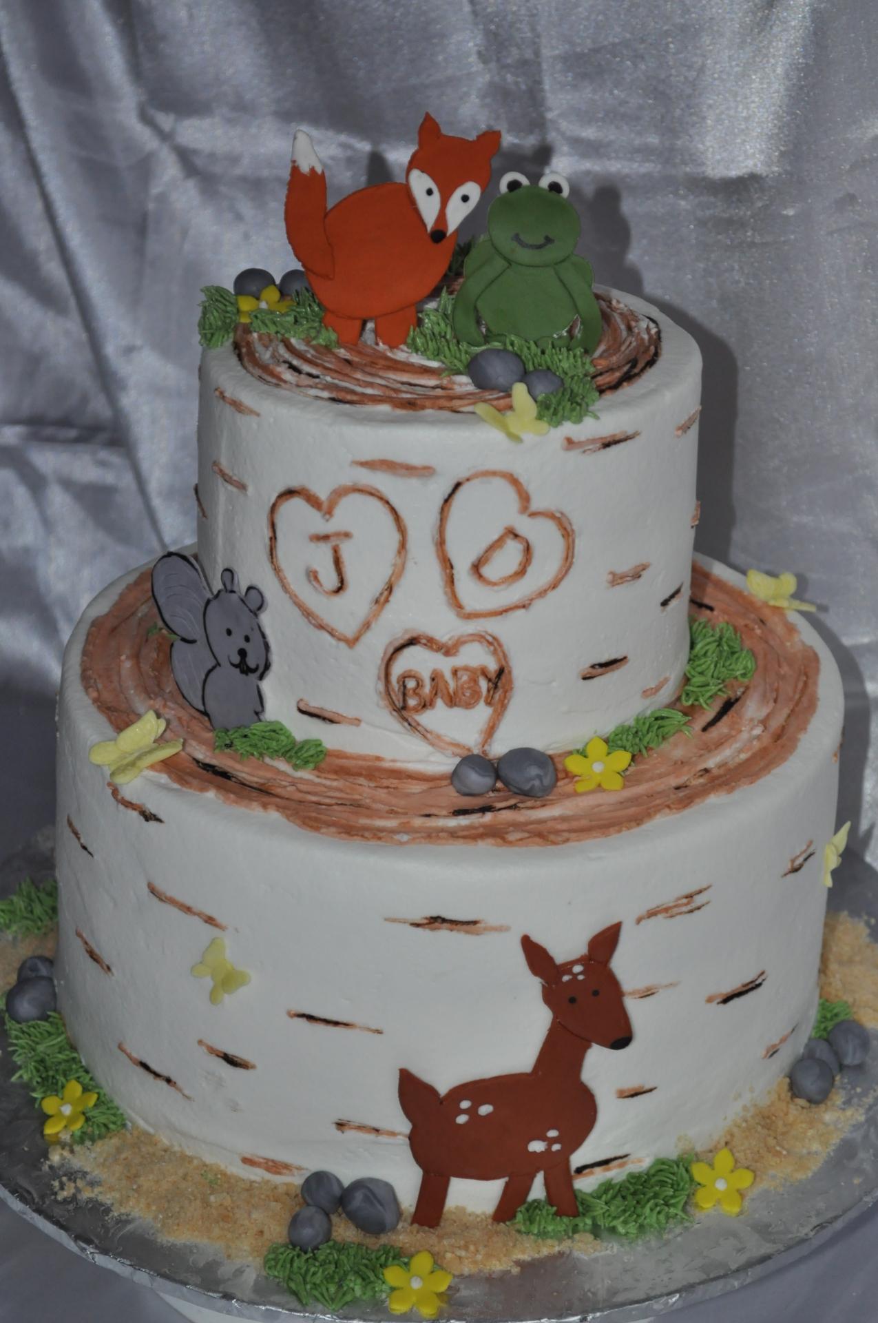 Rustic baby shower cake,Baby animals shower cake