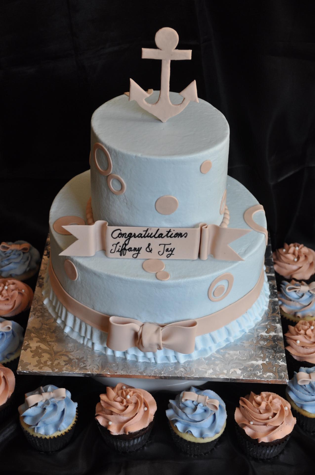 Nautical theme baby shower cake cupcakes