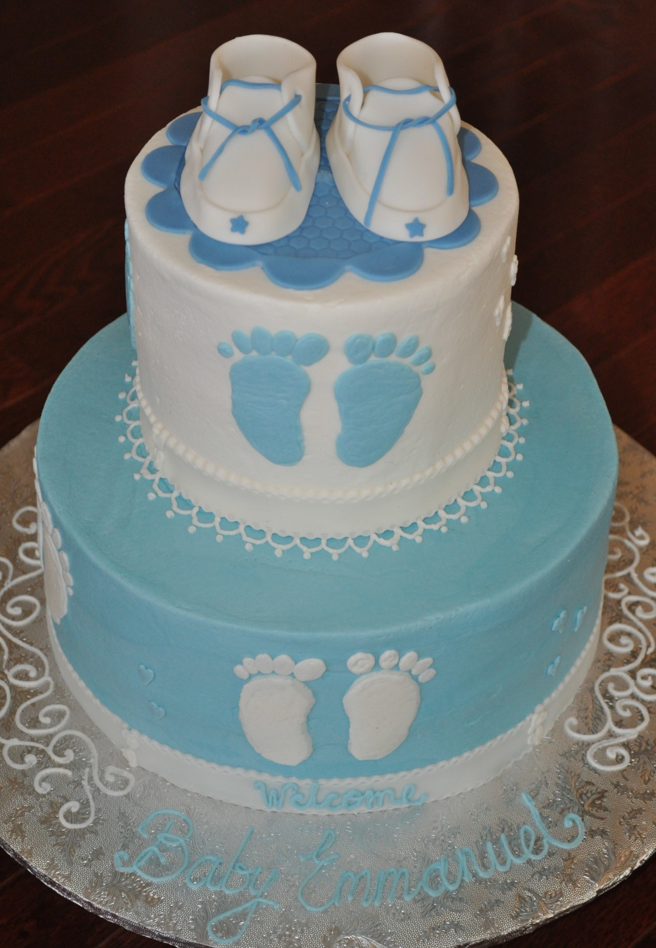 Baby booties footprints baby shower