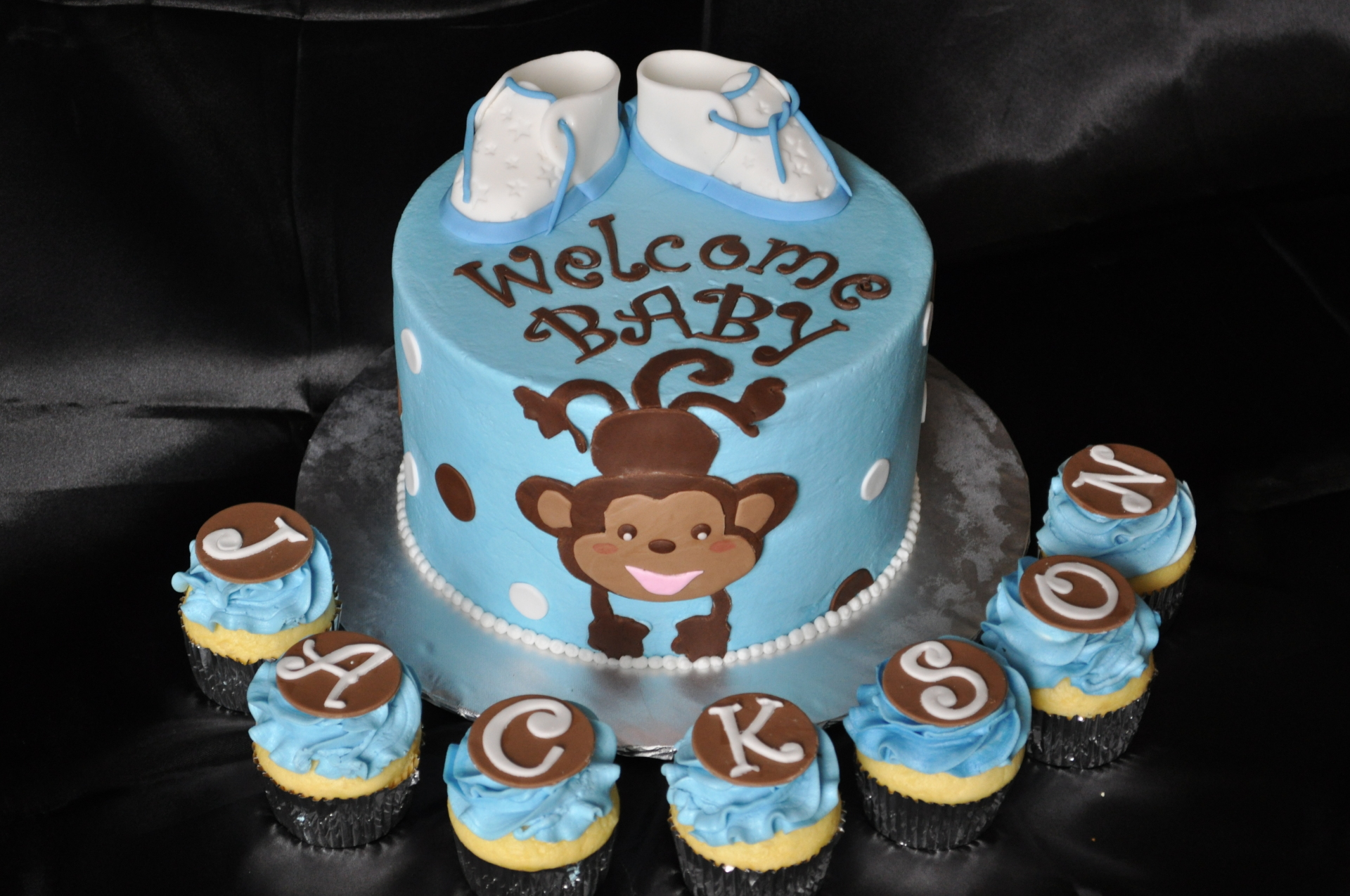 Monkey baby shower booties