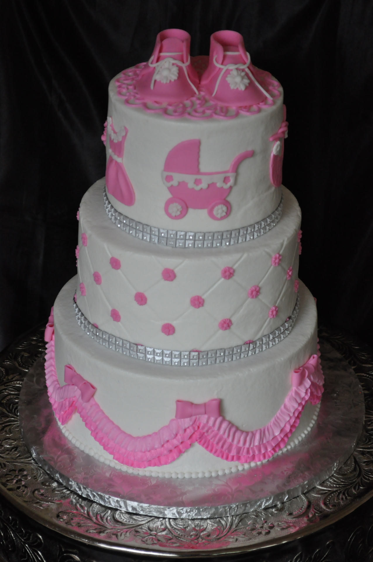 3 tier baby shower booties baby items