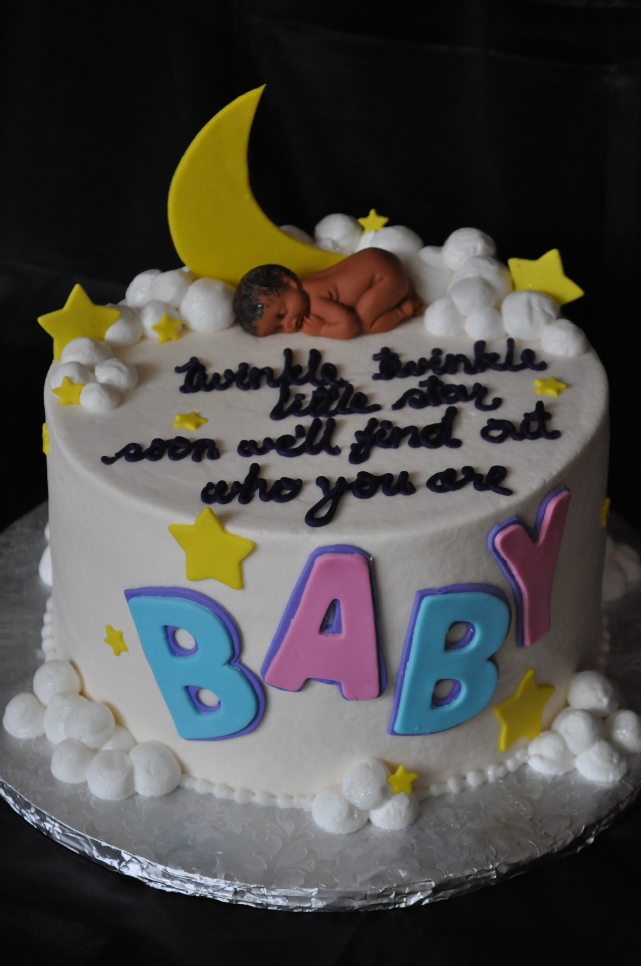 Gender neutral,gender reveal sleeping baby cake