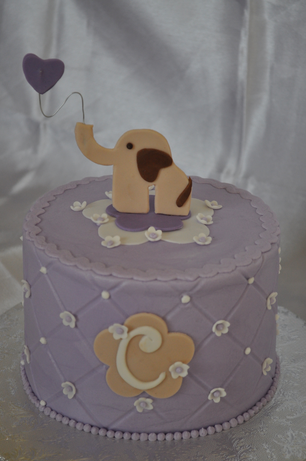 Cute elephant lavender baby shower