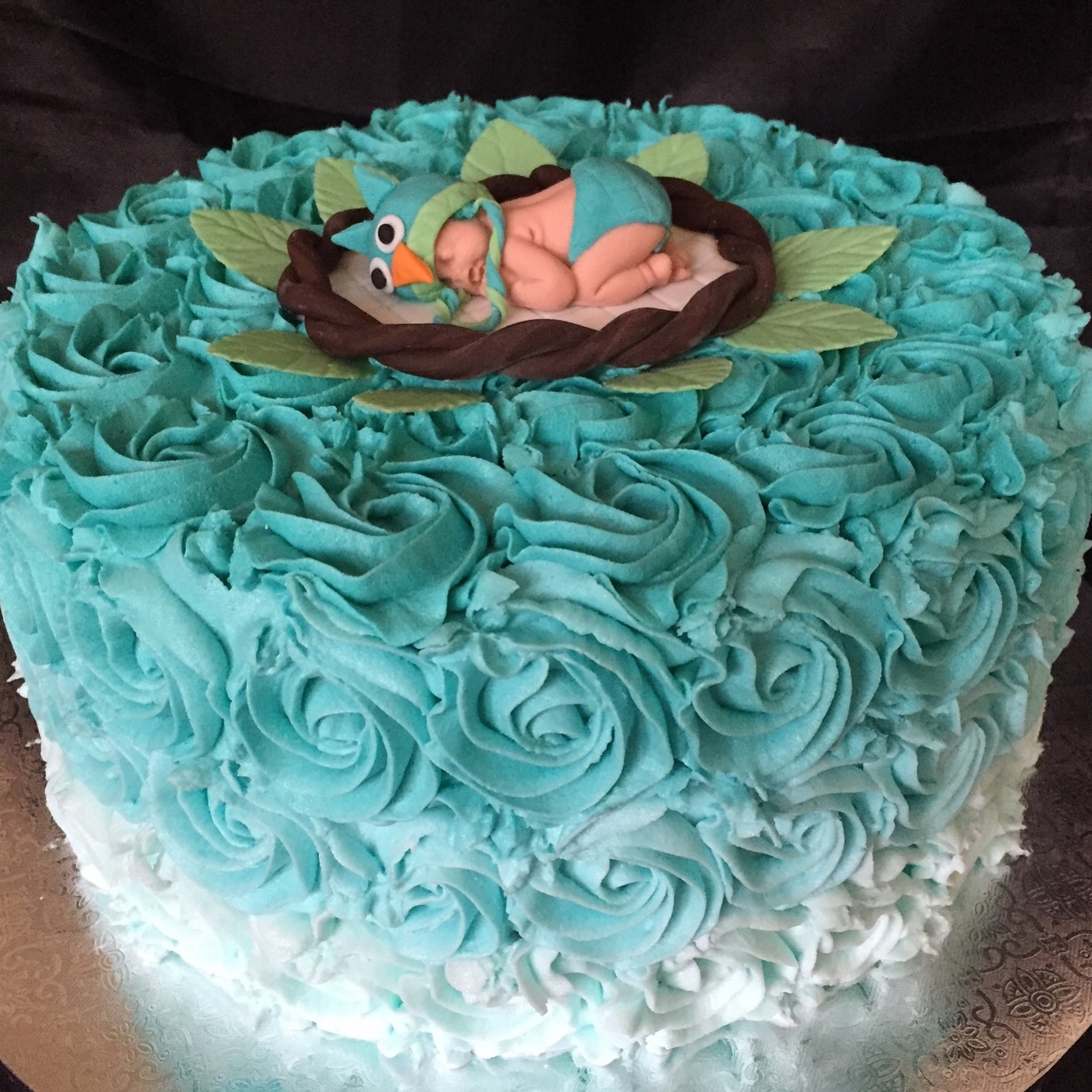 Sleeping baby teal ombre rosettes shower