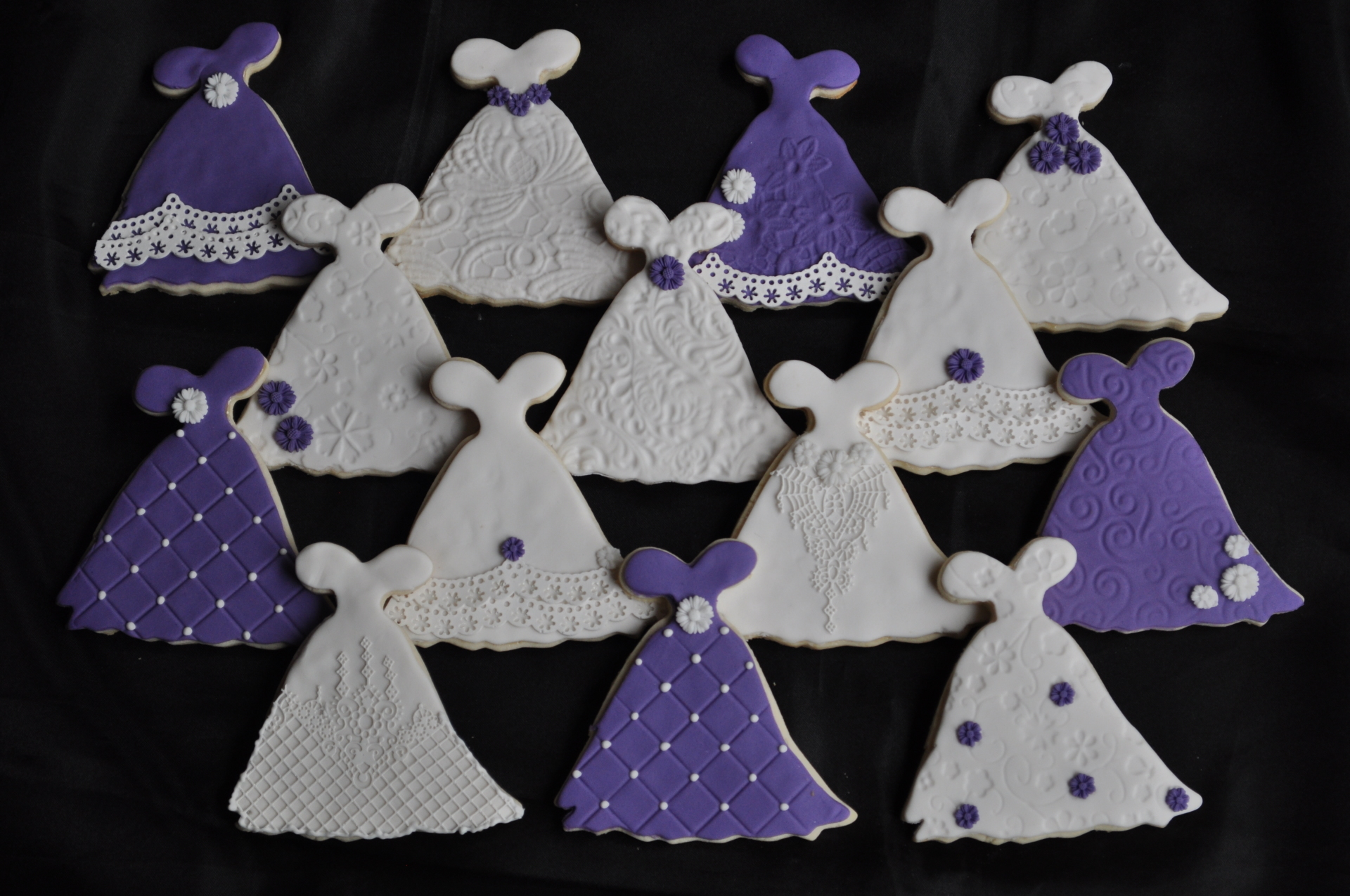 Bridal shower dress cookies