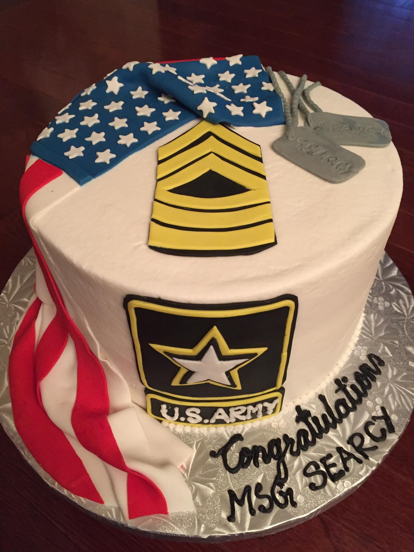 Military promotion ,US flag drape,rank