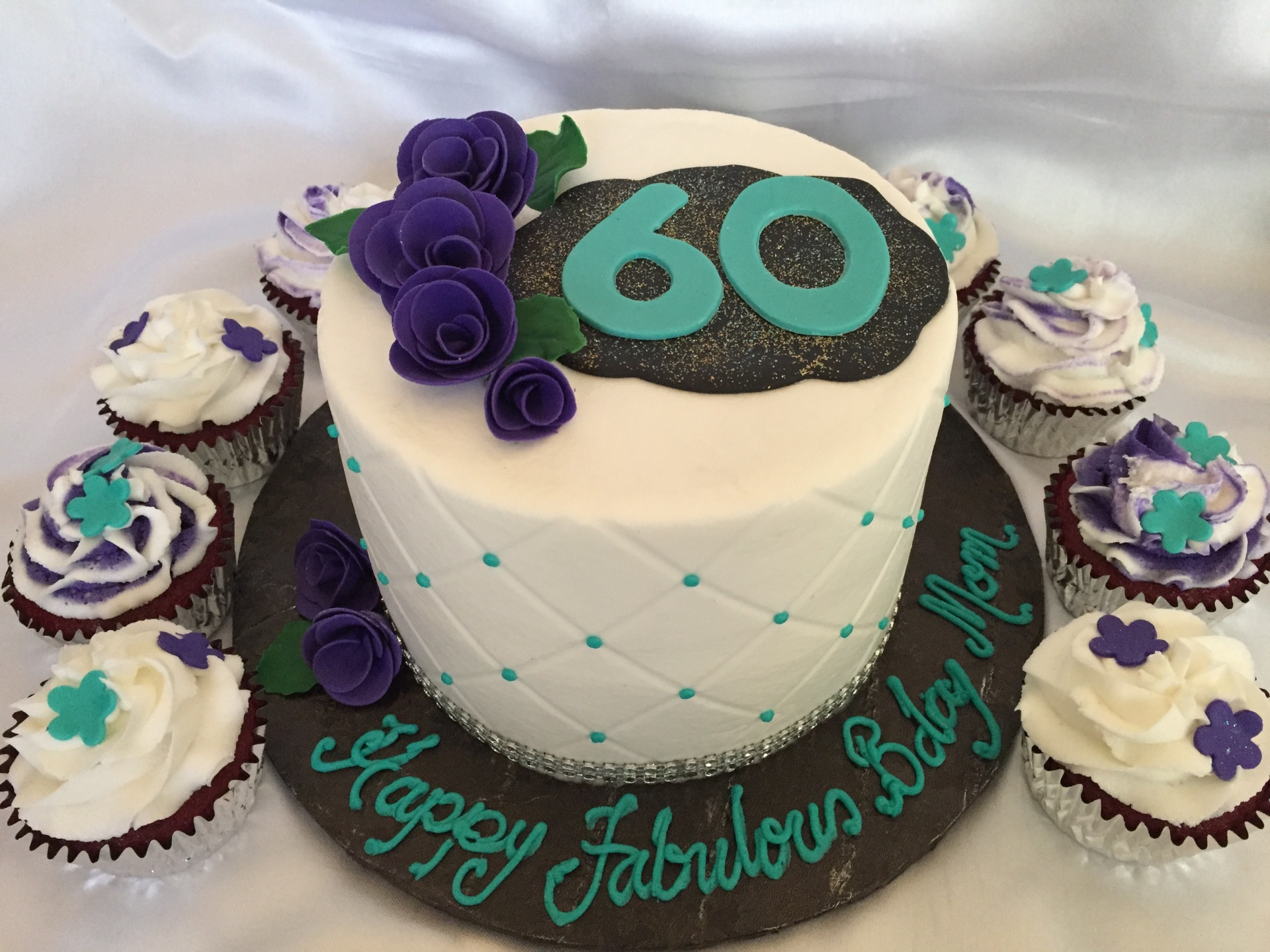 60th birthday teal and purple cake cupcakes