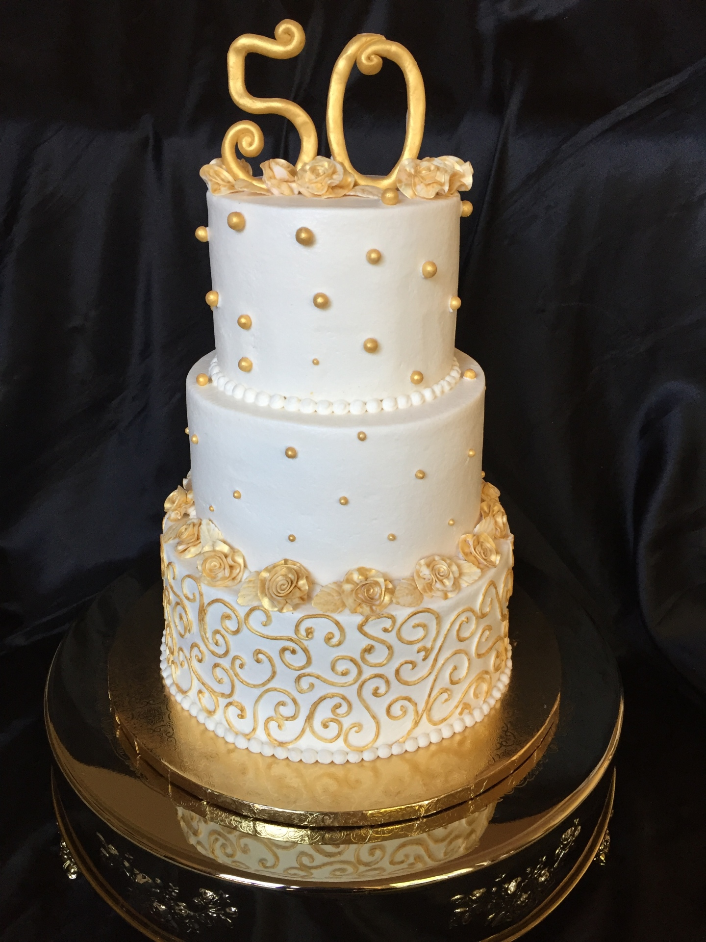 Ivory and Gold 3 tier  50th birthday