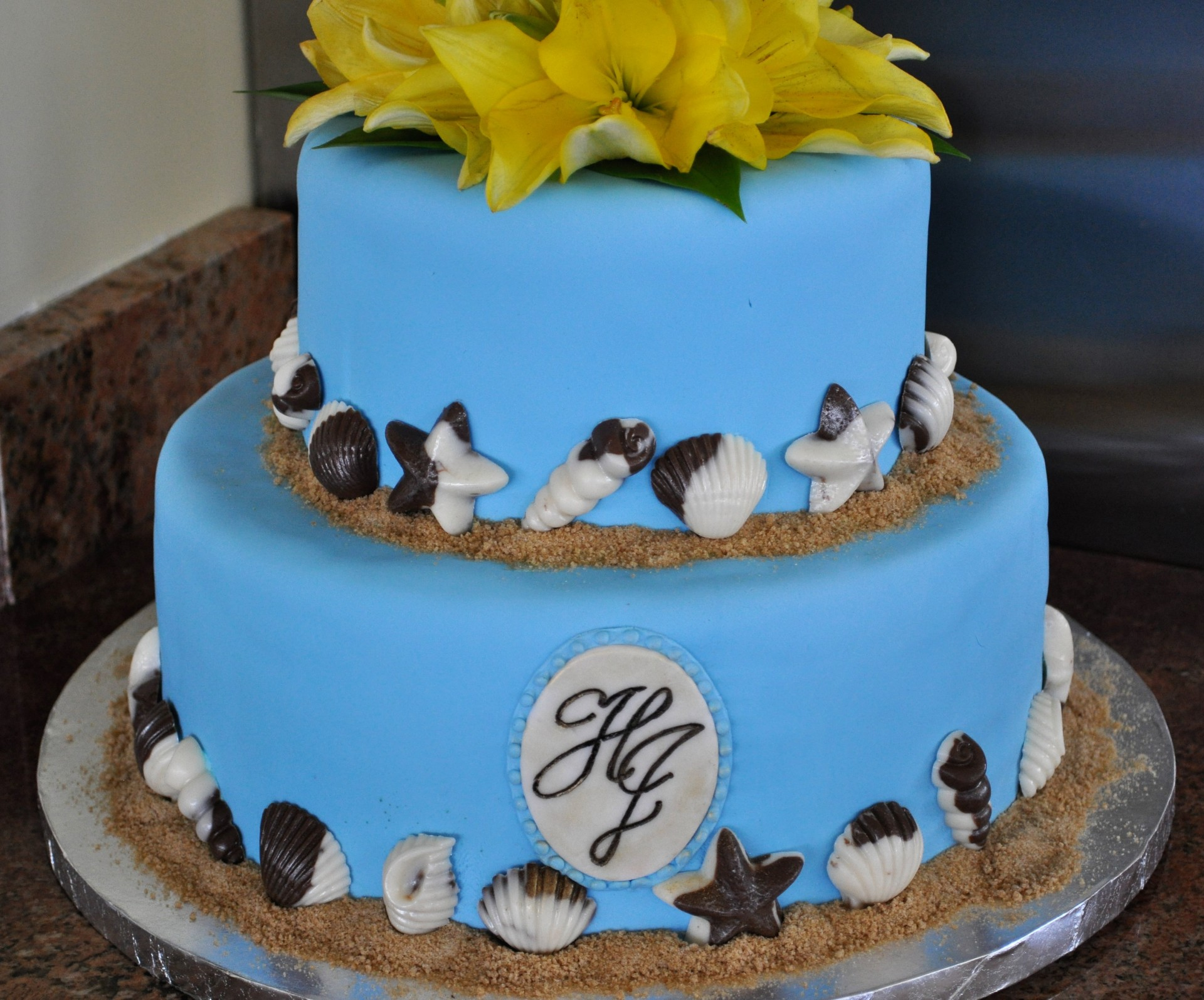 Blue fondant beach theme monogram