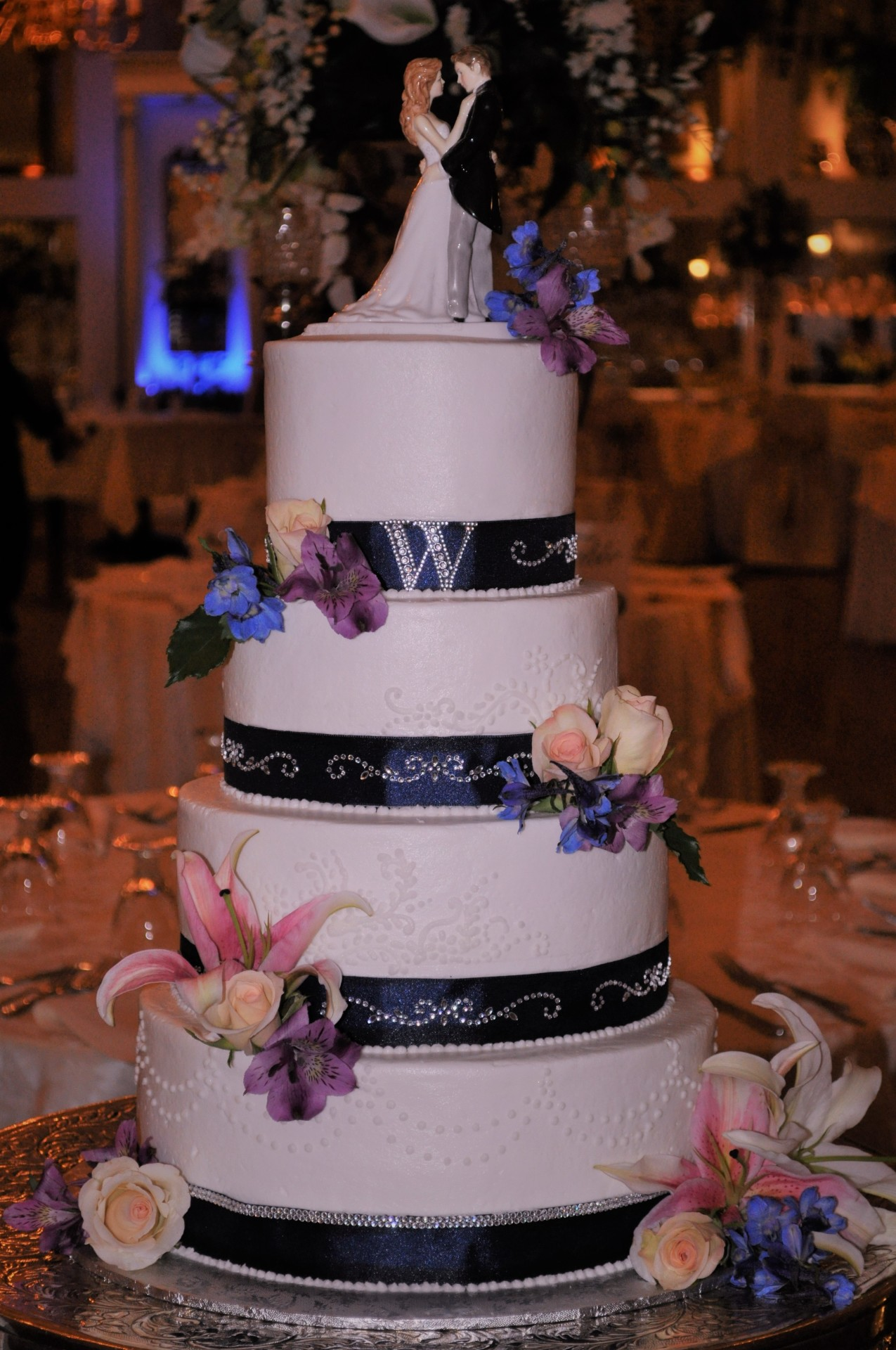 Navy blue band and fresh flowers