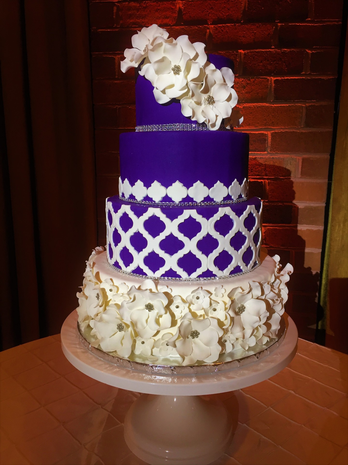 Royal purple with moroccan lattice and gumpaste fantasy flowers