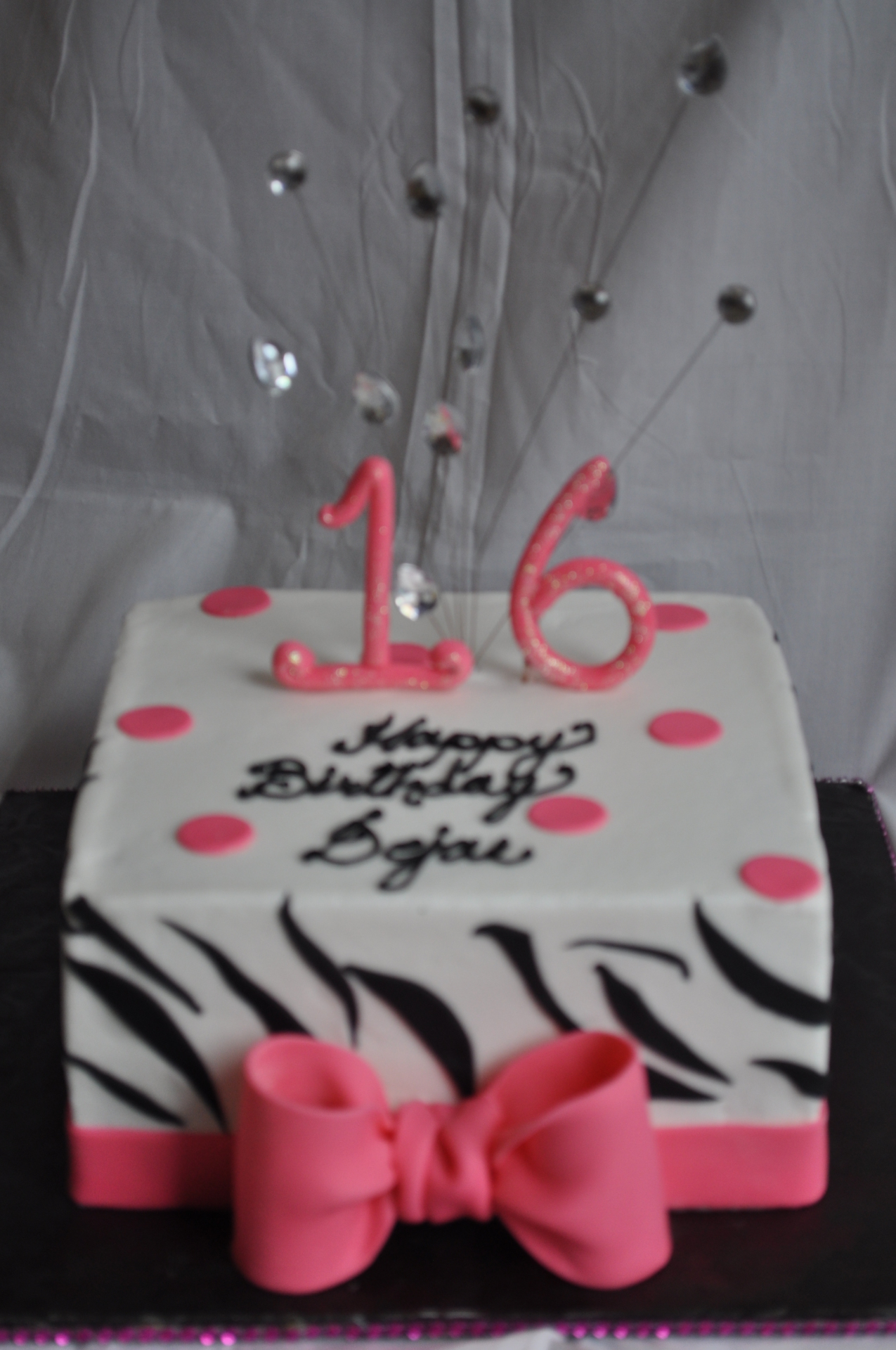 Simple 16th birthday cake zebra stripes and pink bow