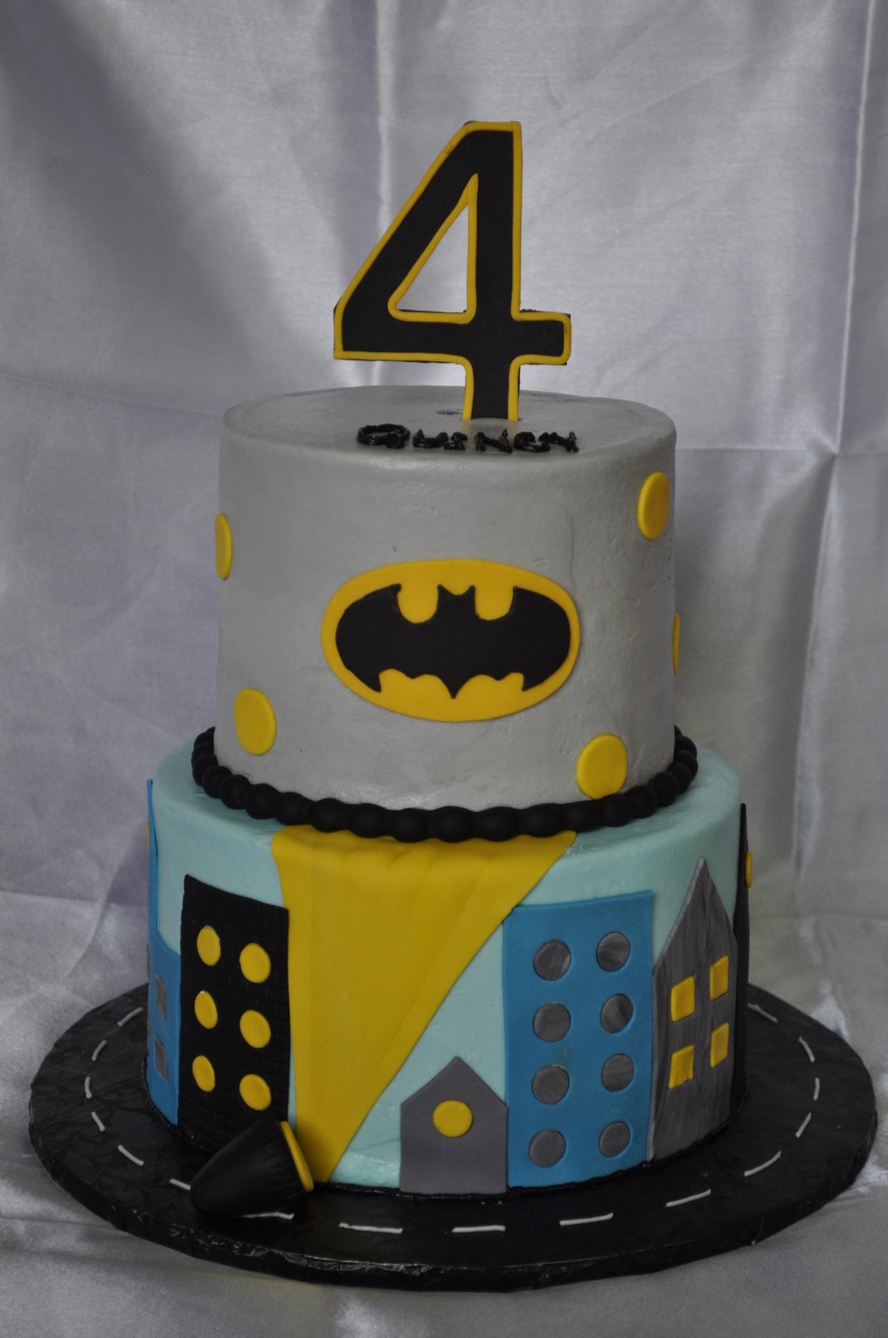 Batman theme tiered birthday
