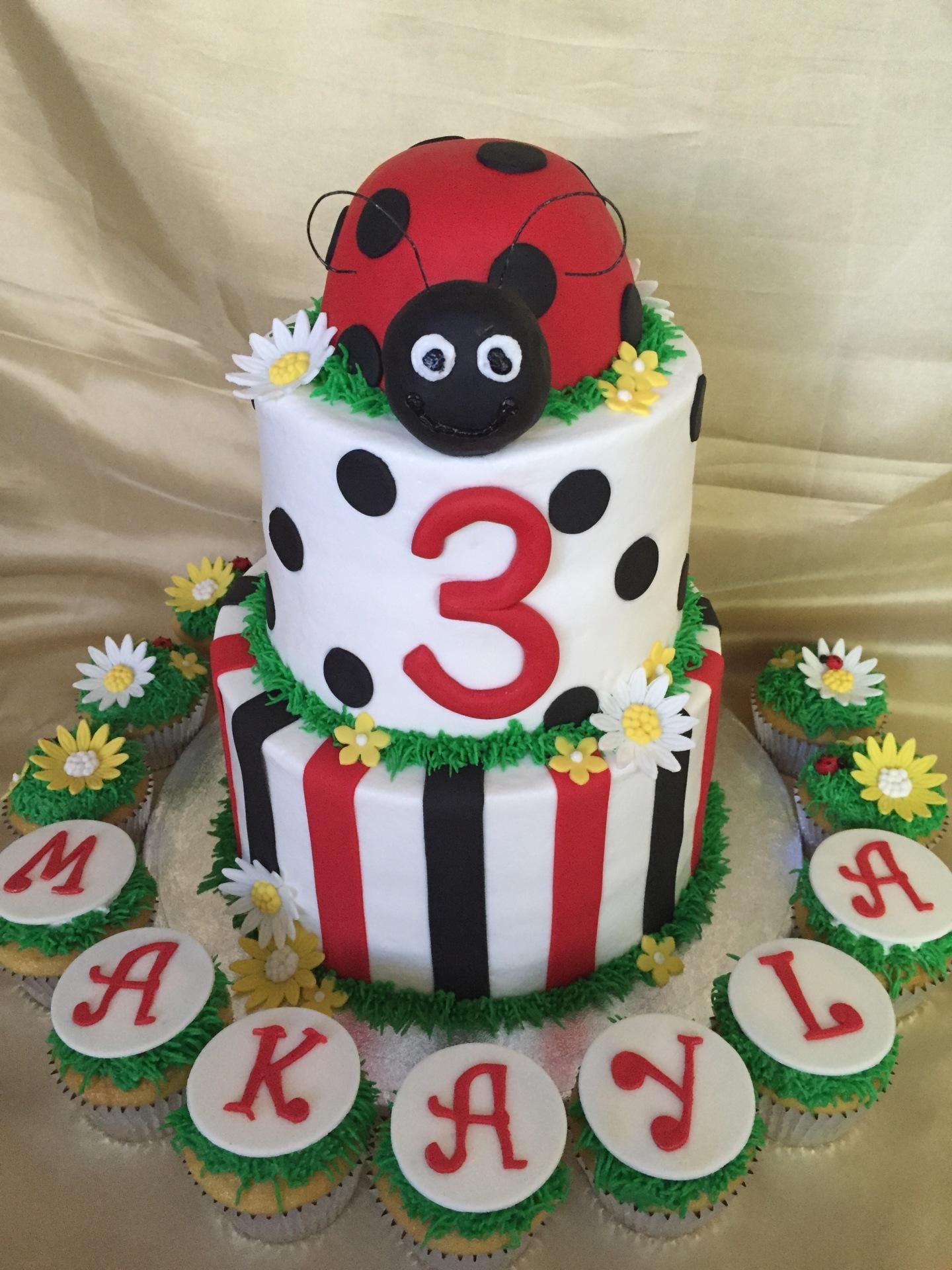 Ladybug tiered cake cupcakes