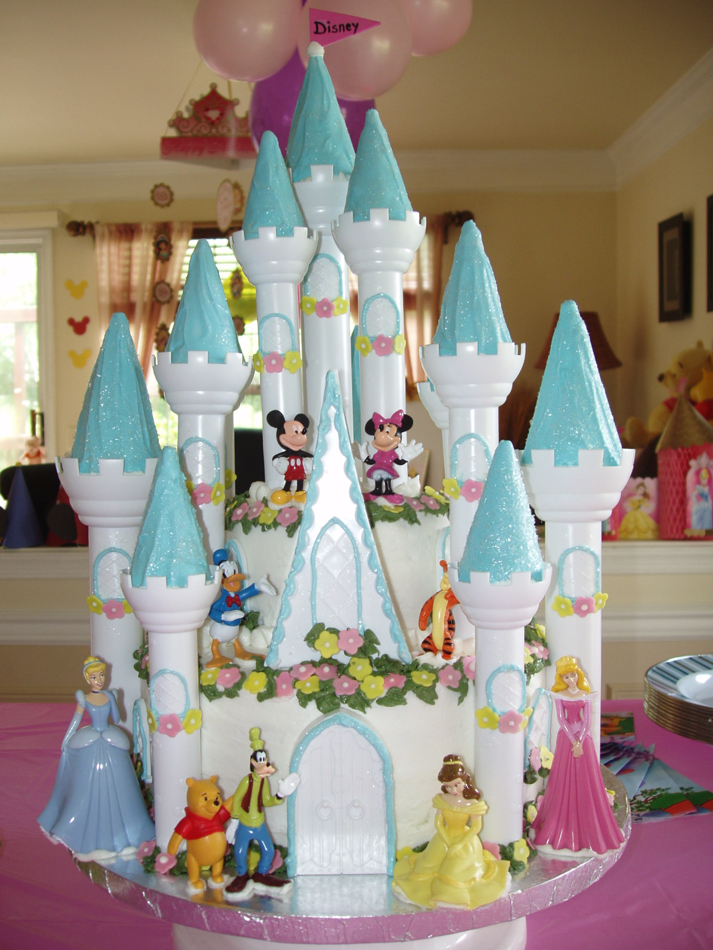 Blue Disney castle cake