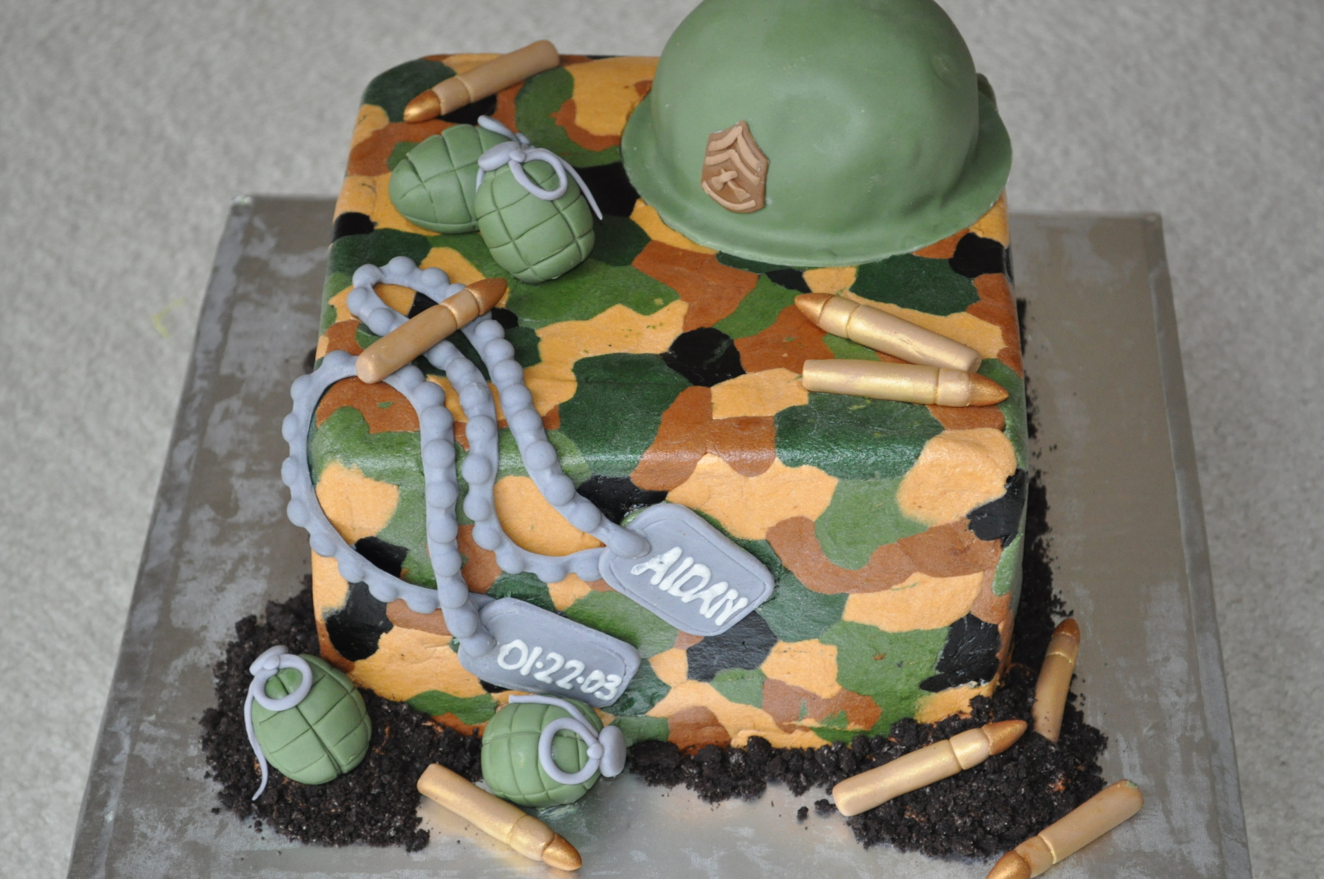Military theme with tags grenade hat
