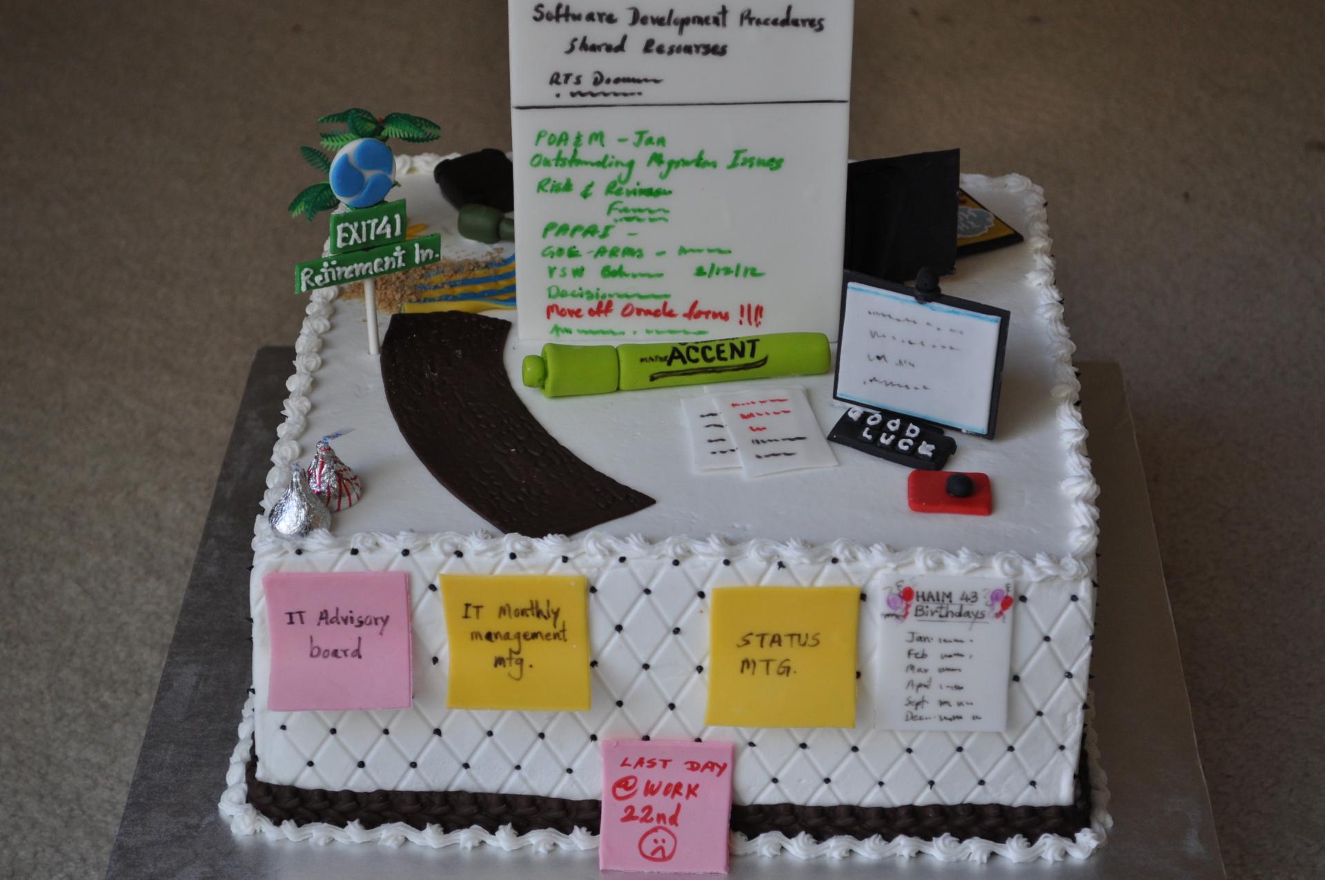 Personalized retirement cake