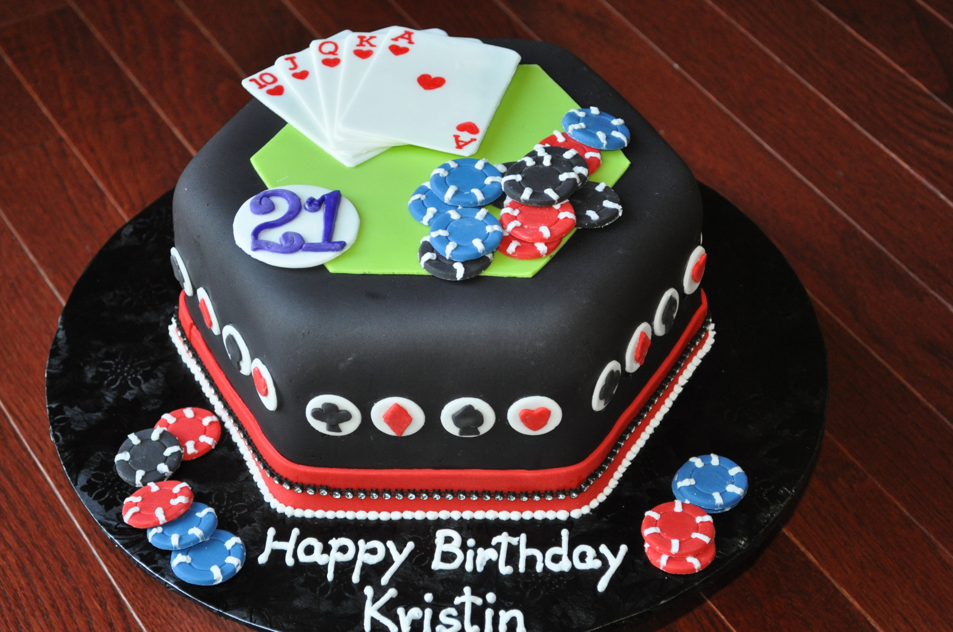 Casino theme fondant hexagon