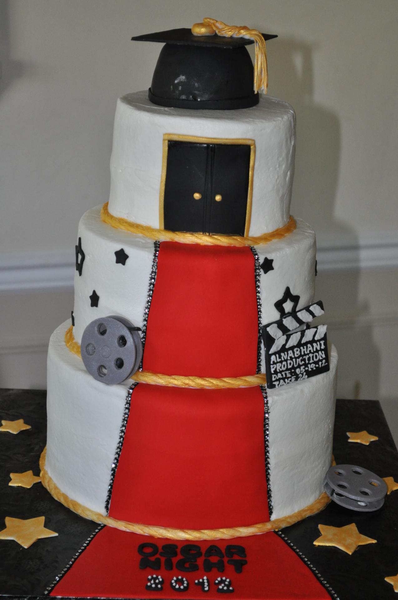 Hollywood theme graduation cake
