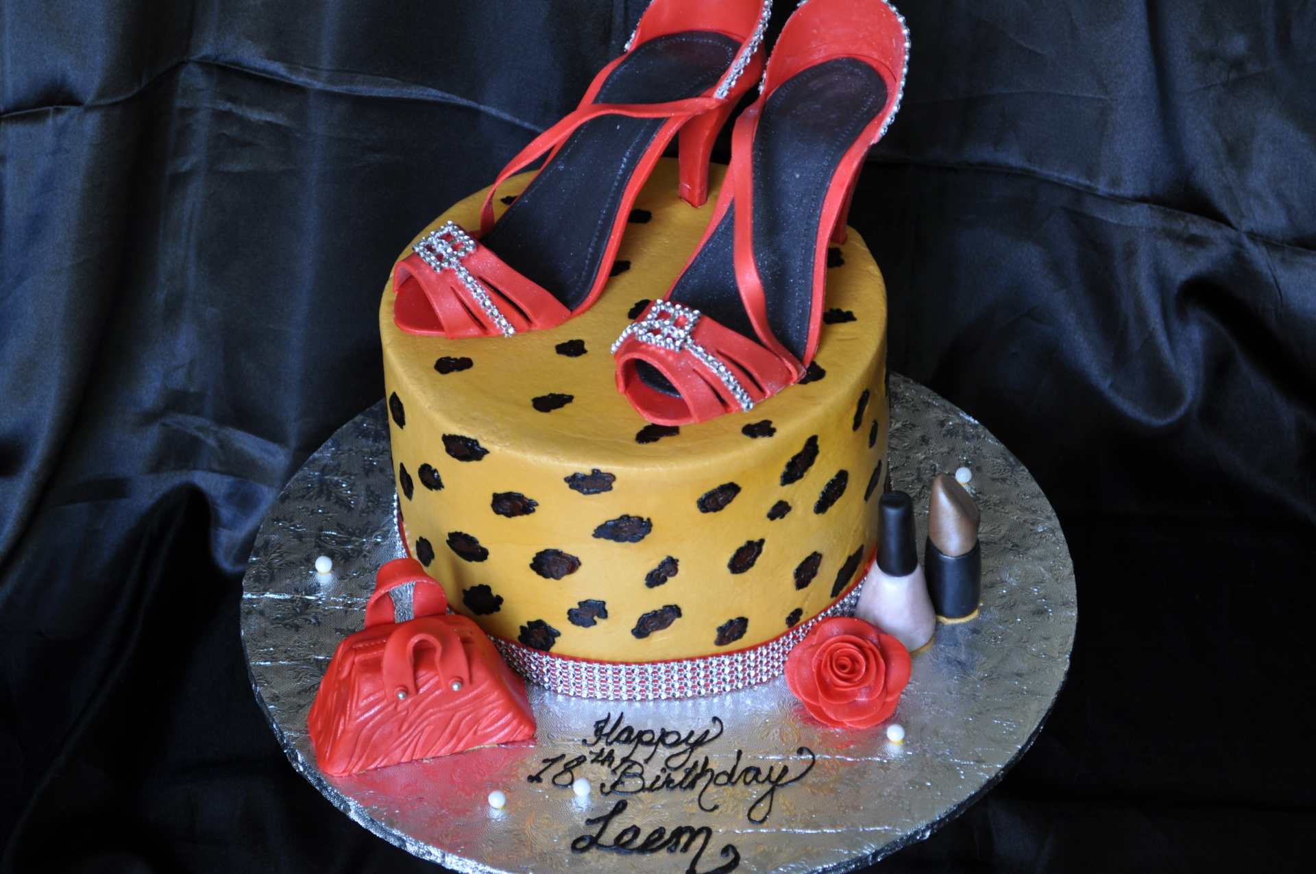 Leopard print with red heels