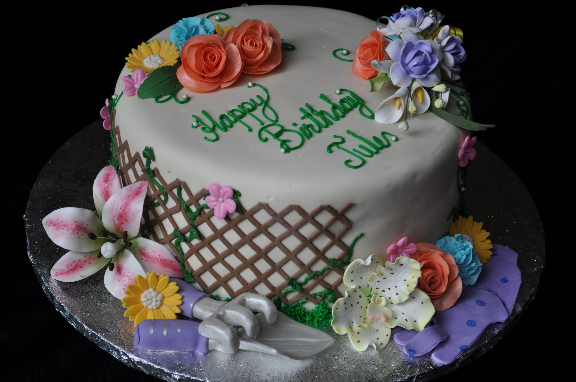 Assorted Sugar Flowers and lattice fondant cake