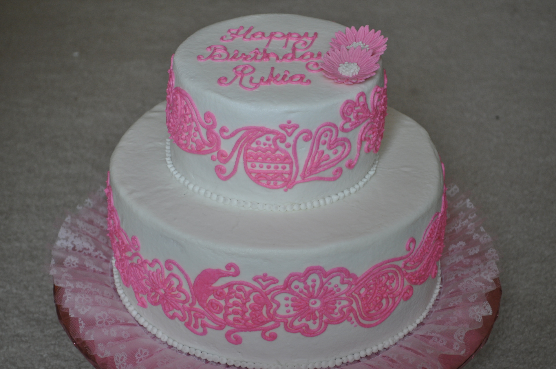 Pink henna tiered cake