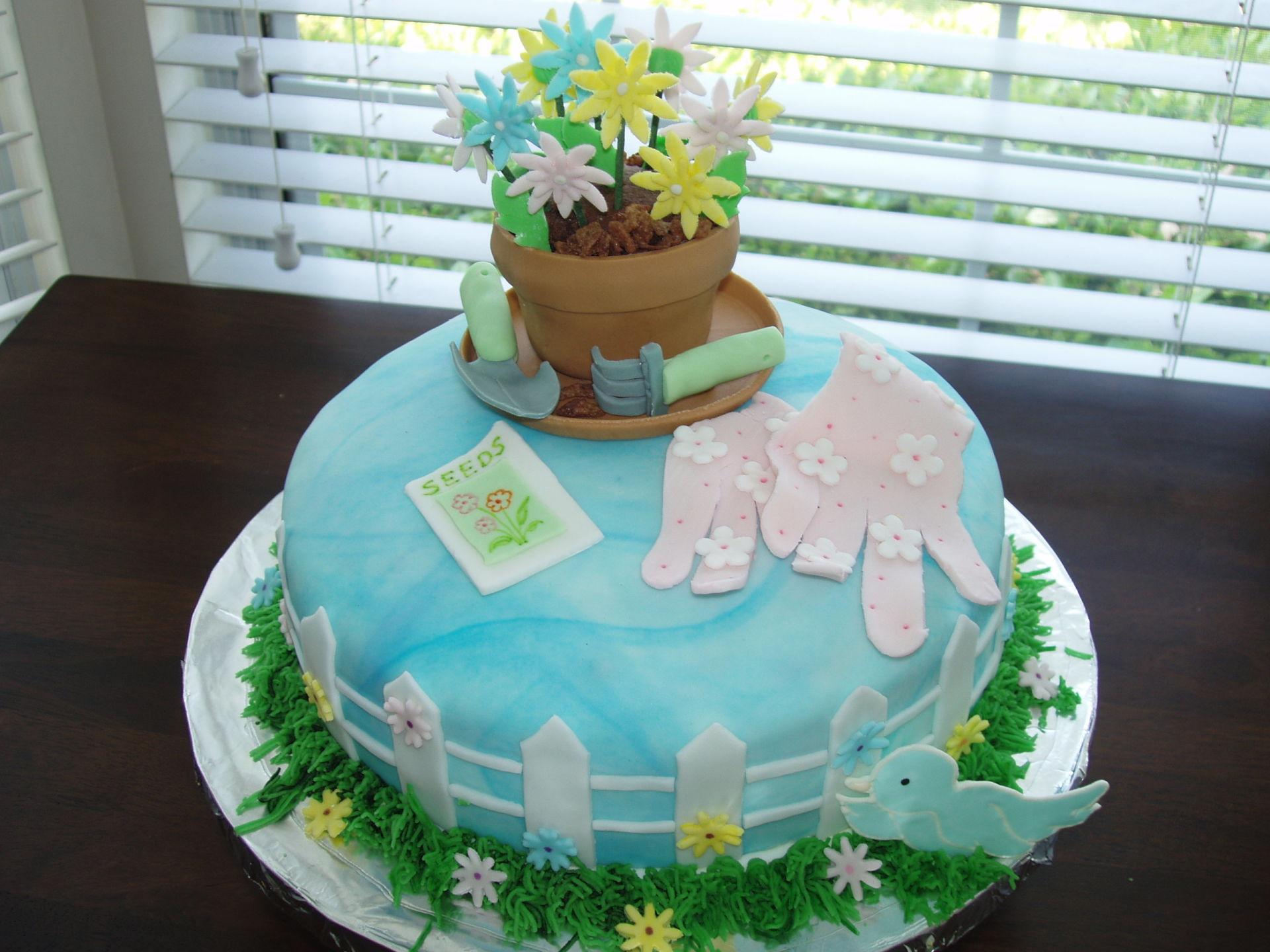 Gardening theme fondant cake