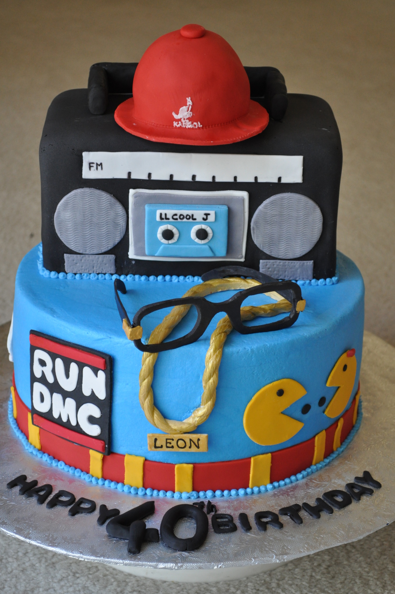 80s theme with boombox personalized cake