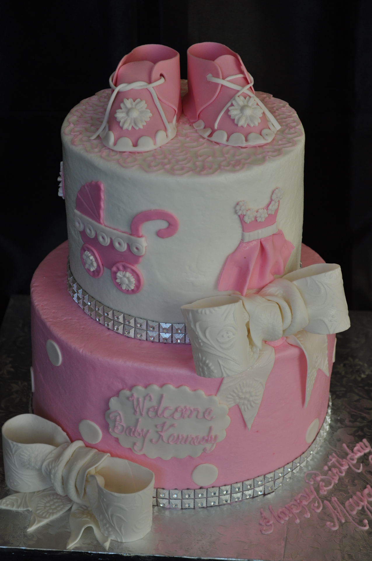 Pink and White tiered with booties and bows