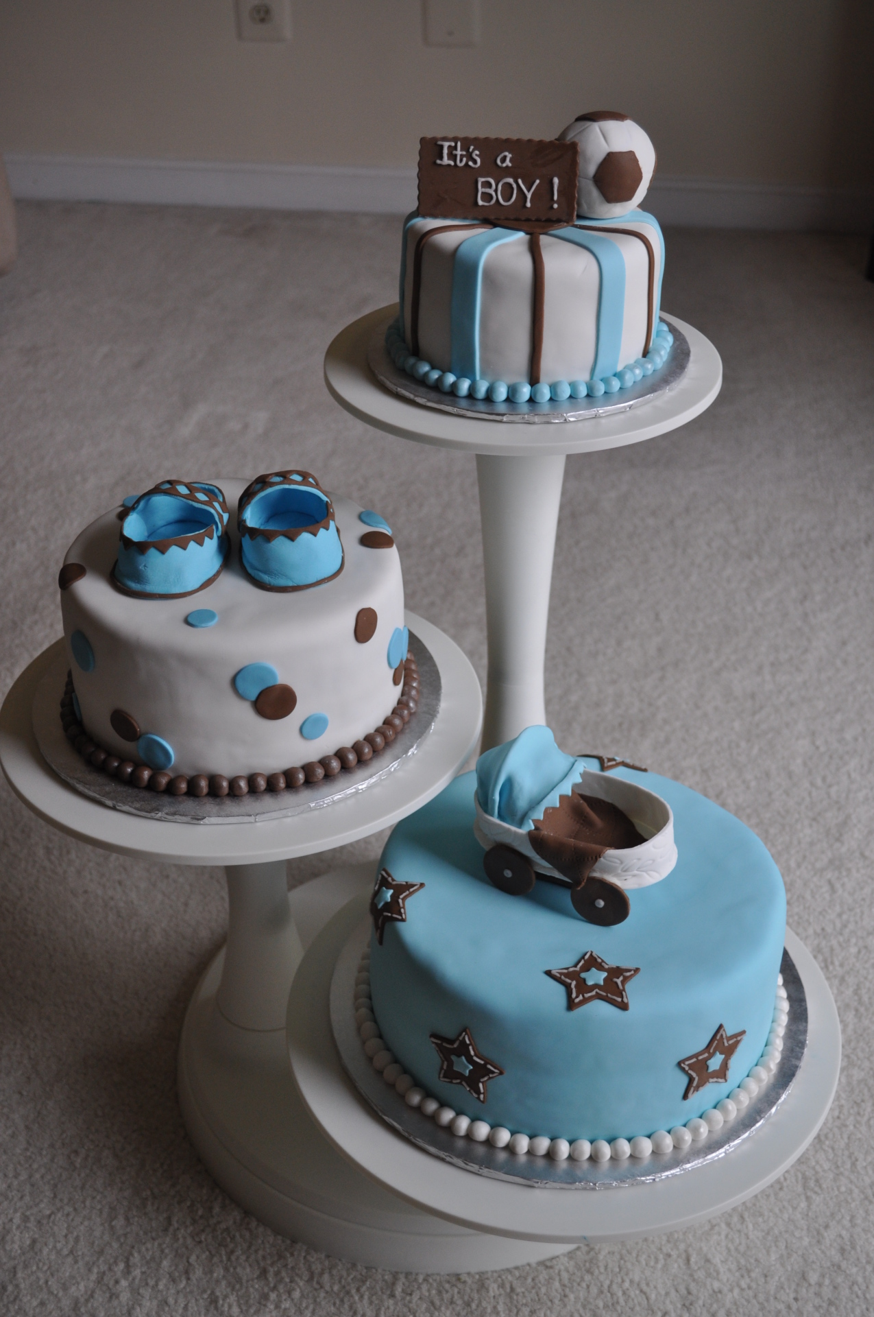 Blue and Brown seperate tiers with toppers