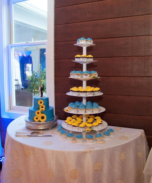 Blue and Yellow cake and cupcake tower-Photo by  Fauquier Photography