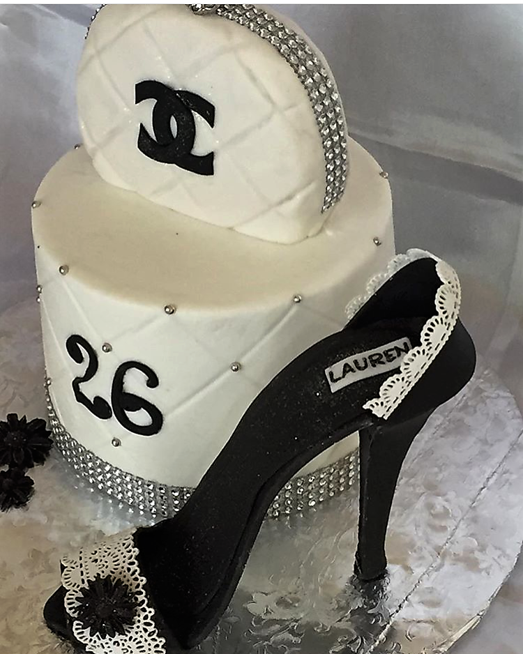 Chanel clutch and black heel