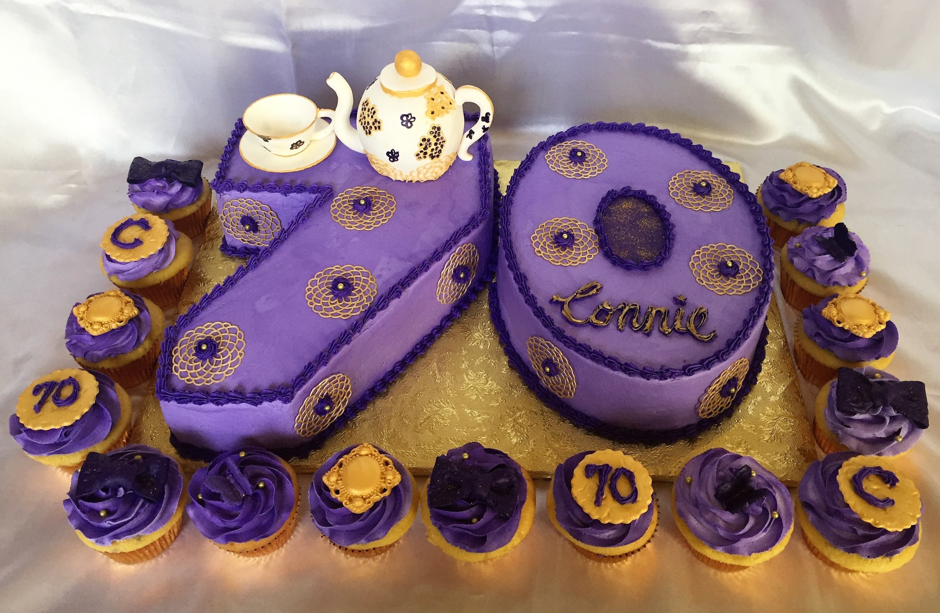 70th birthday purple and gold tea party