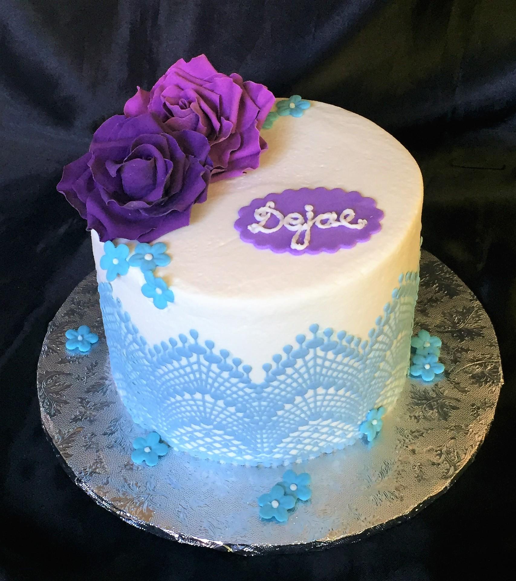 Sky blue sugar lace lavender roses