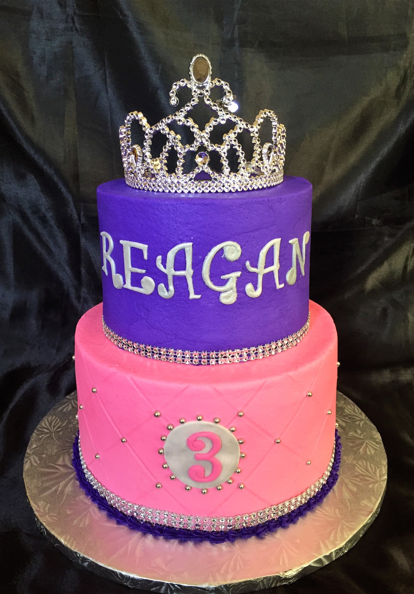 Purple pink 2 tier with silver tiara