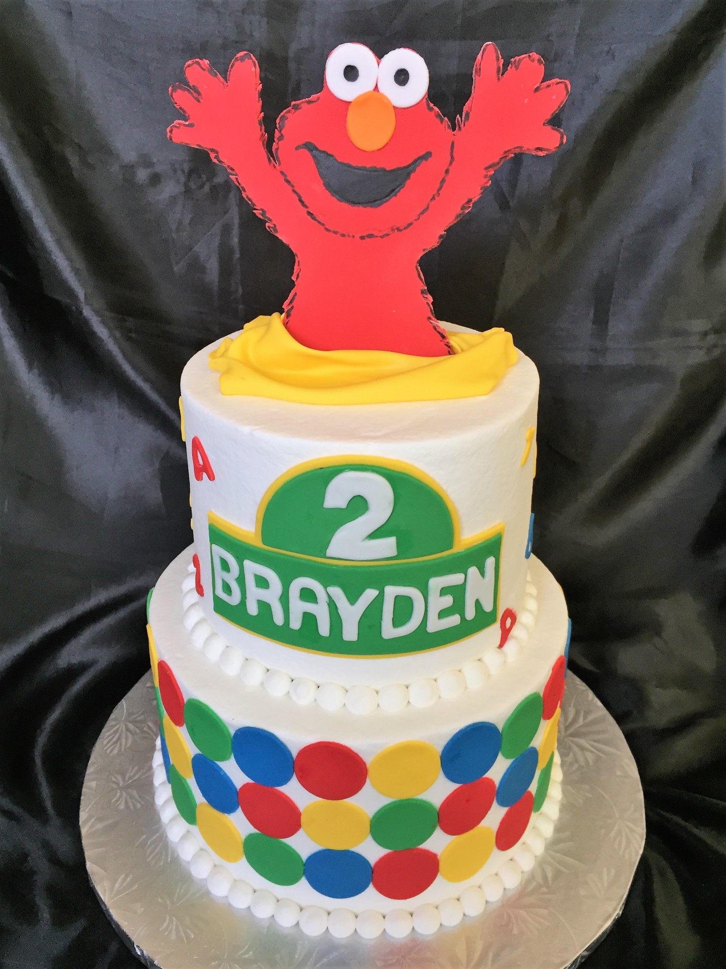 Elmo topper 2 tier dots